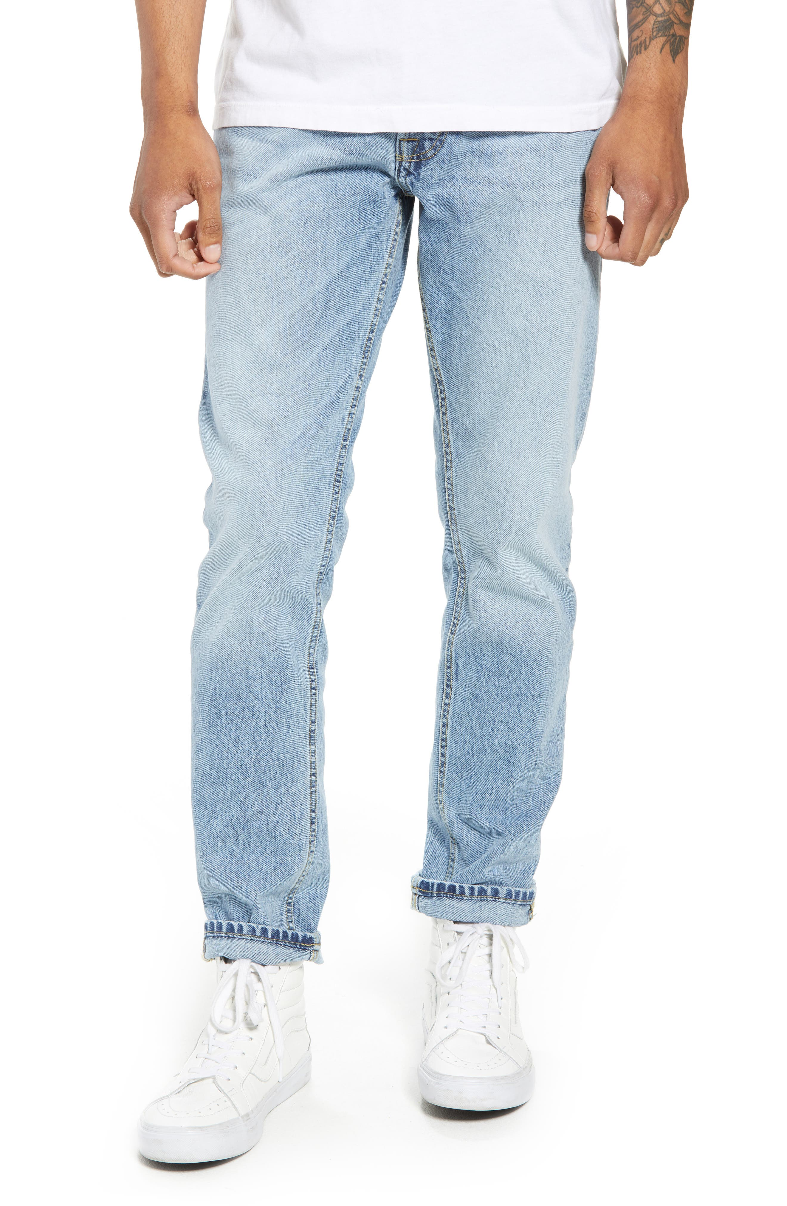 Straight Tapered Leg Jeans,                         Main,                         color, Jalapeno Blue
