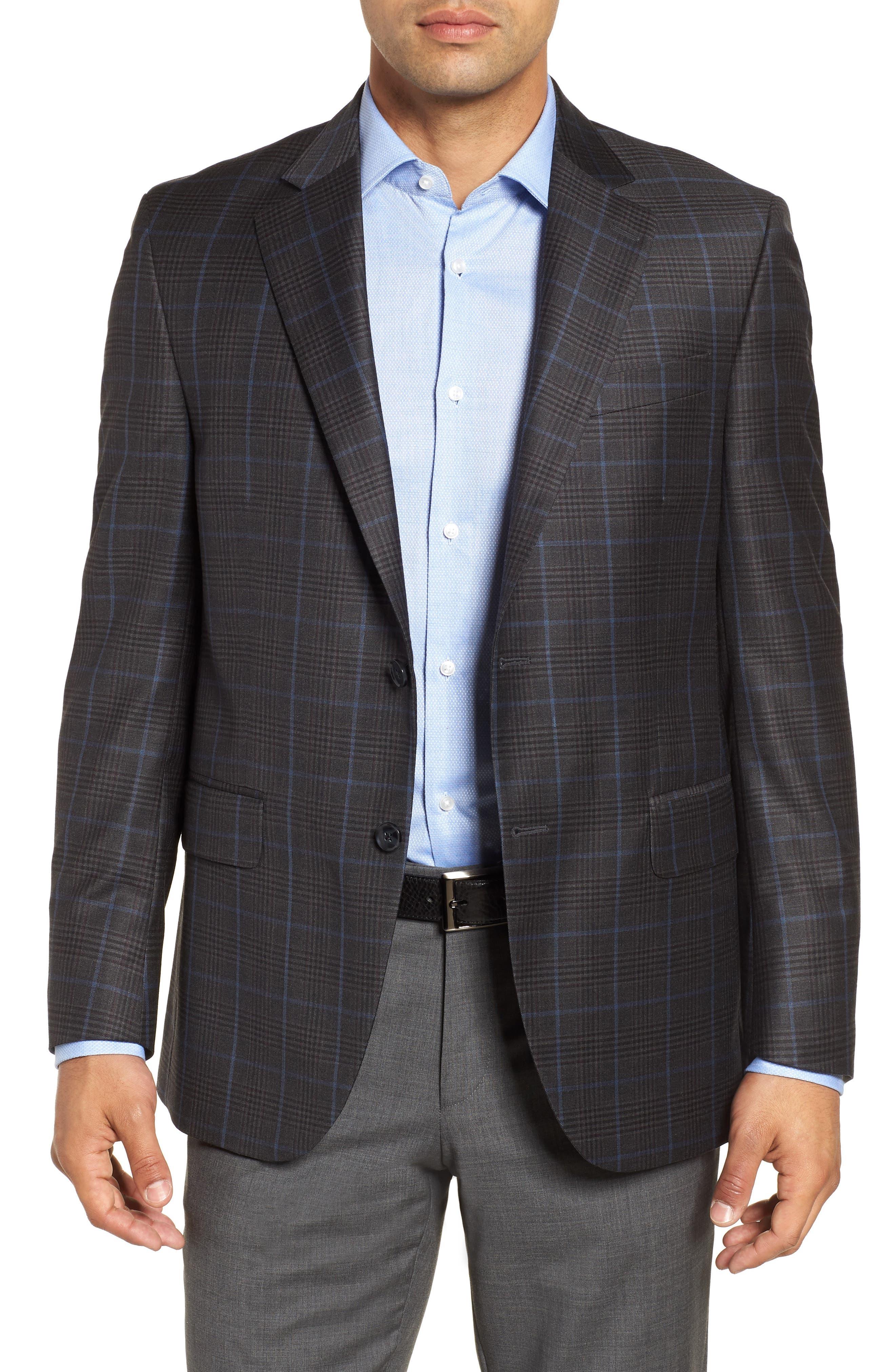 Hyperlight Classic Fit Plaid Wool Sport Coat,                             Main thumbnail 1, color,                             Grey