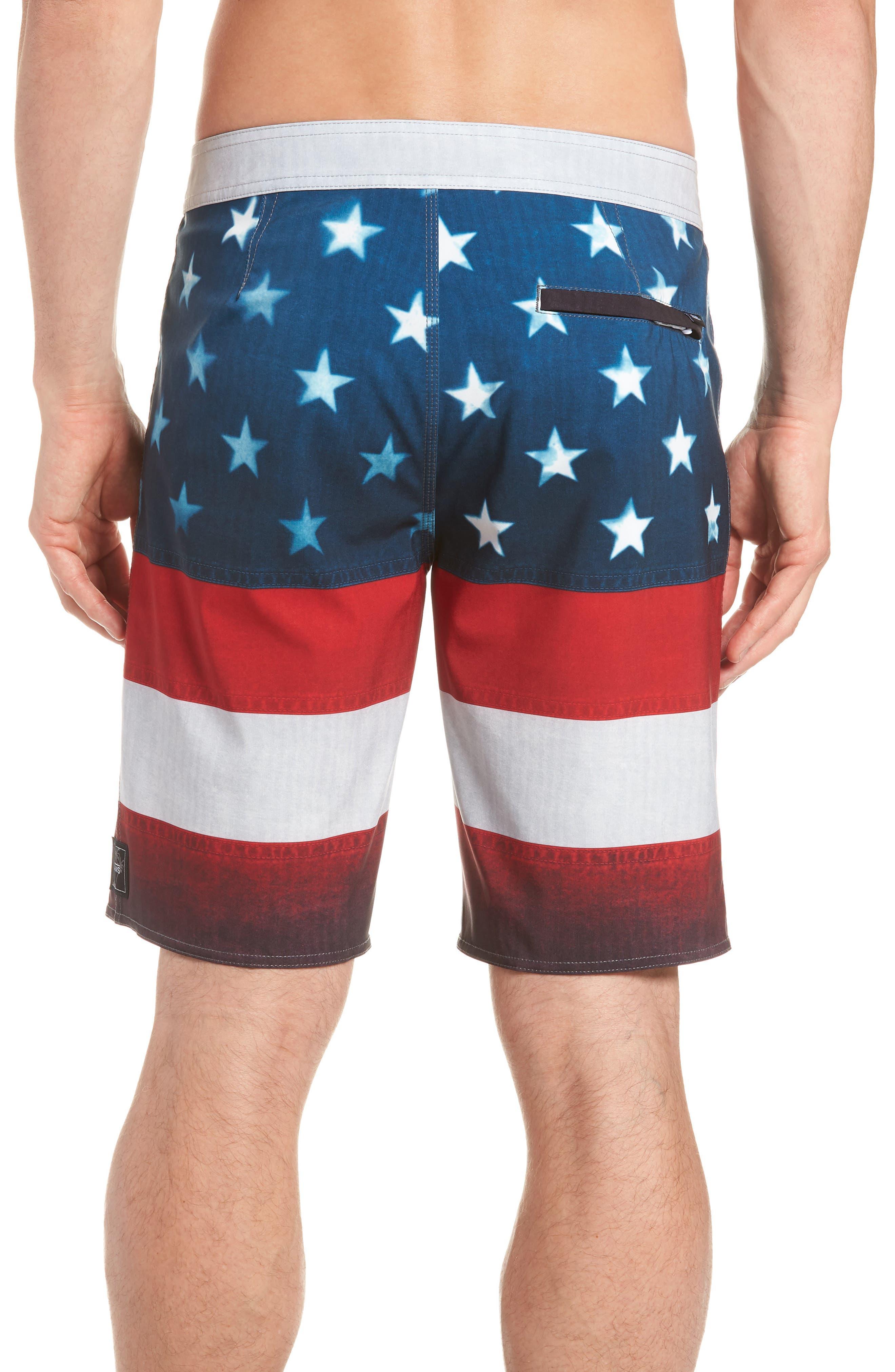 Era Board Shorts,                             Alternate thumbnail 2, color,                             American Flag