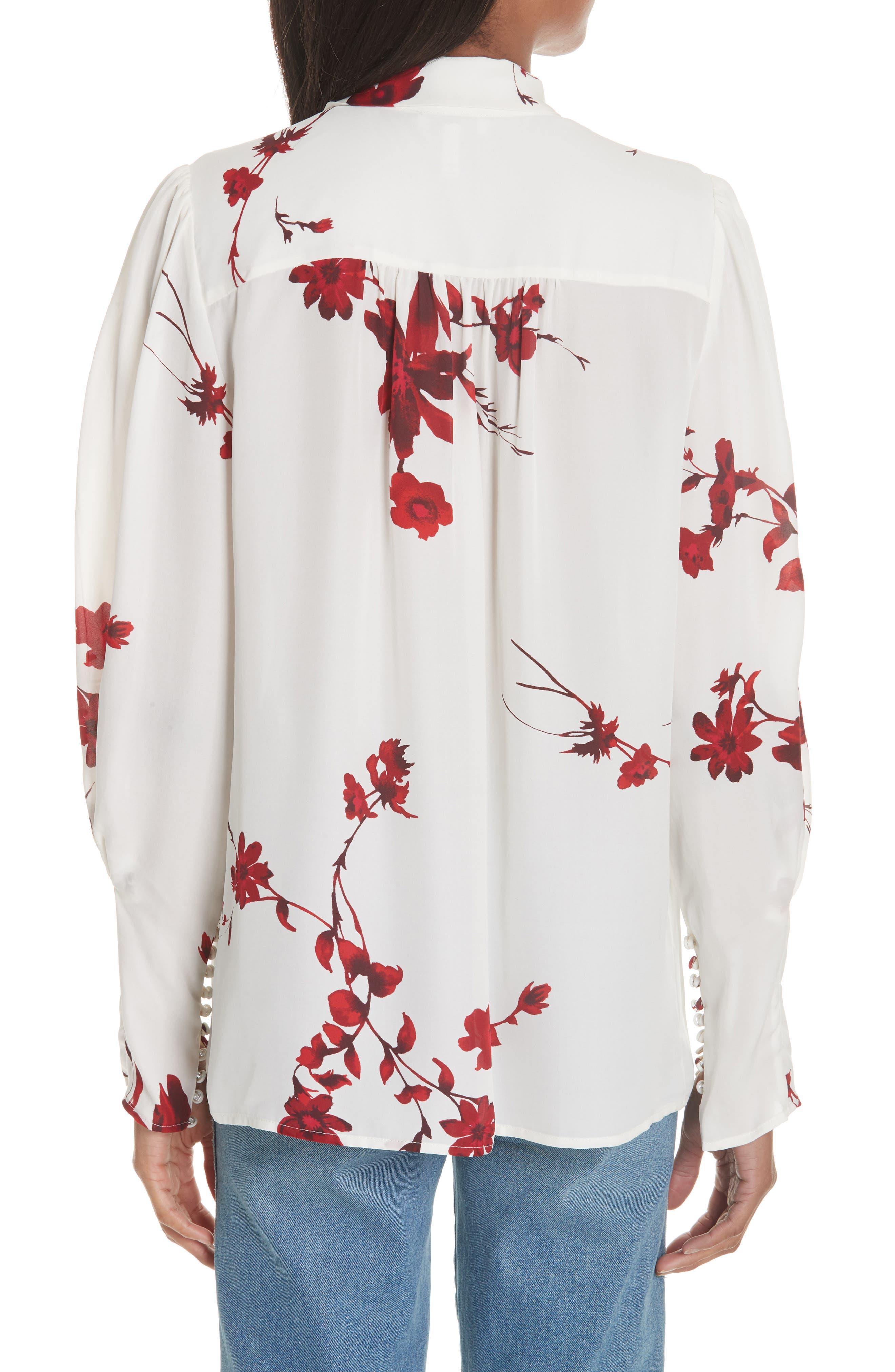 Angeletta Tie Neck Floral Silk Blouse,                             Alternate thumbnail 2, color,                             Porcelain