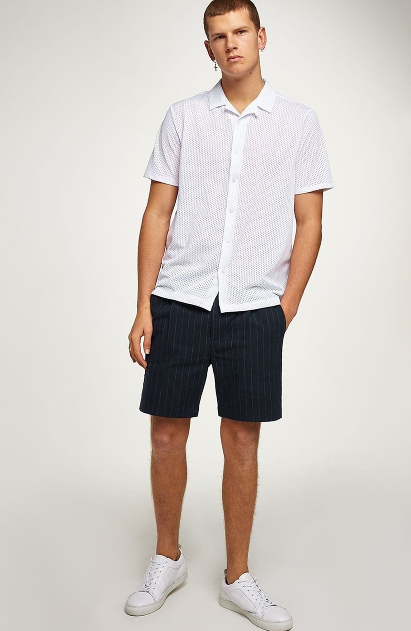 Pinstripe Shorts,                             Alternate thumbnail 4, color,                             Navy Blue