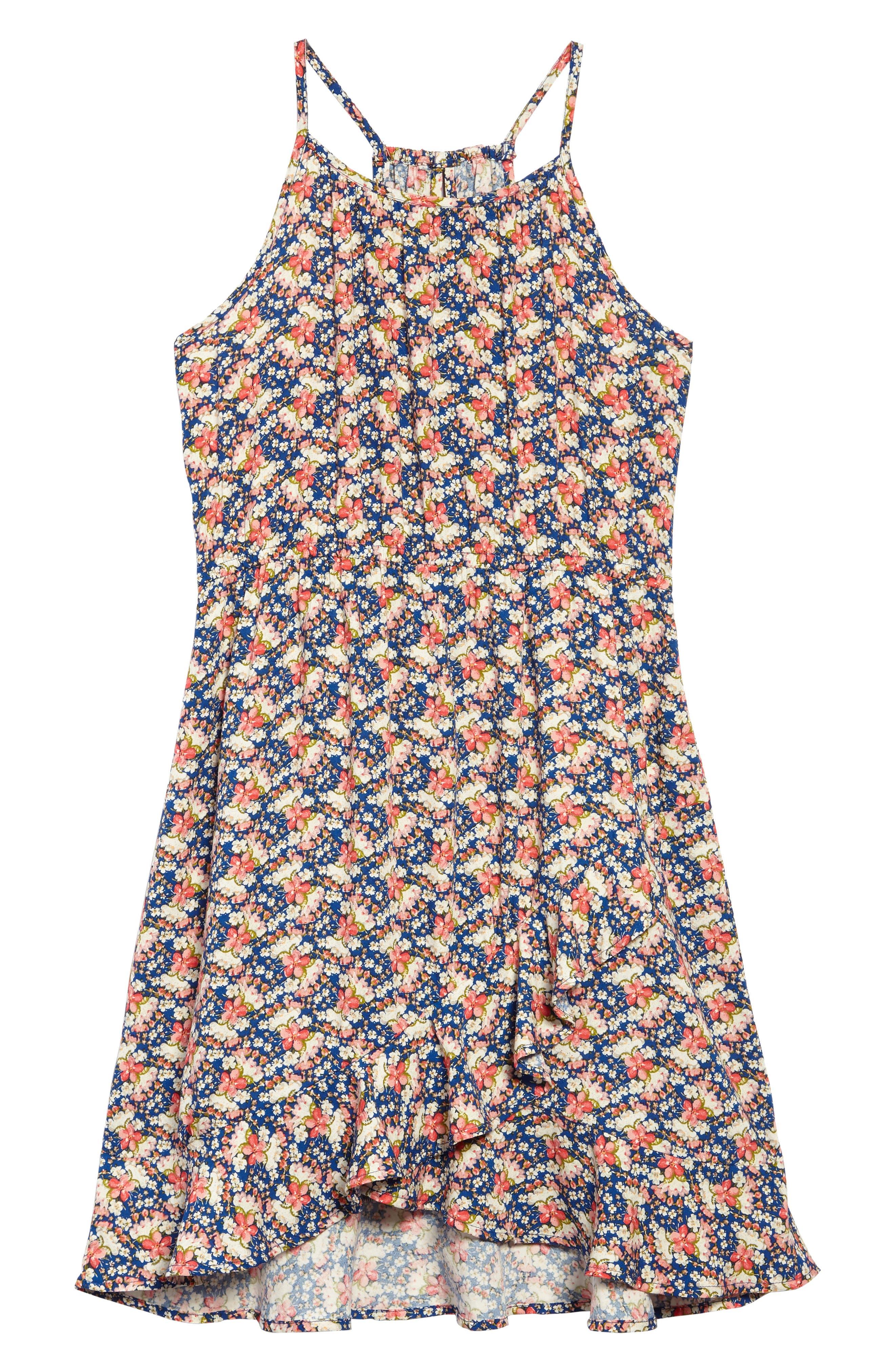 Floral Print Halter Dress,                         Main,                         color, Royal Floral