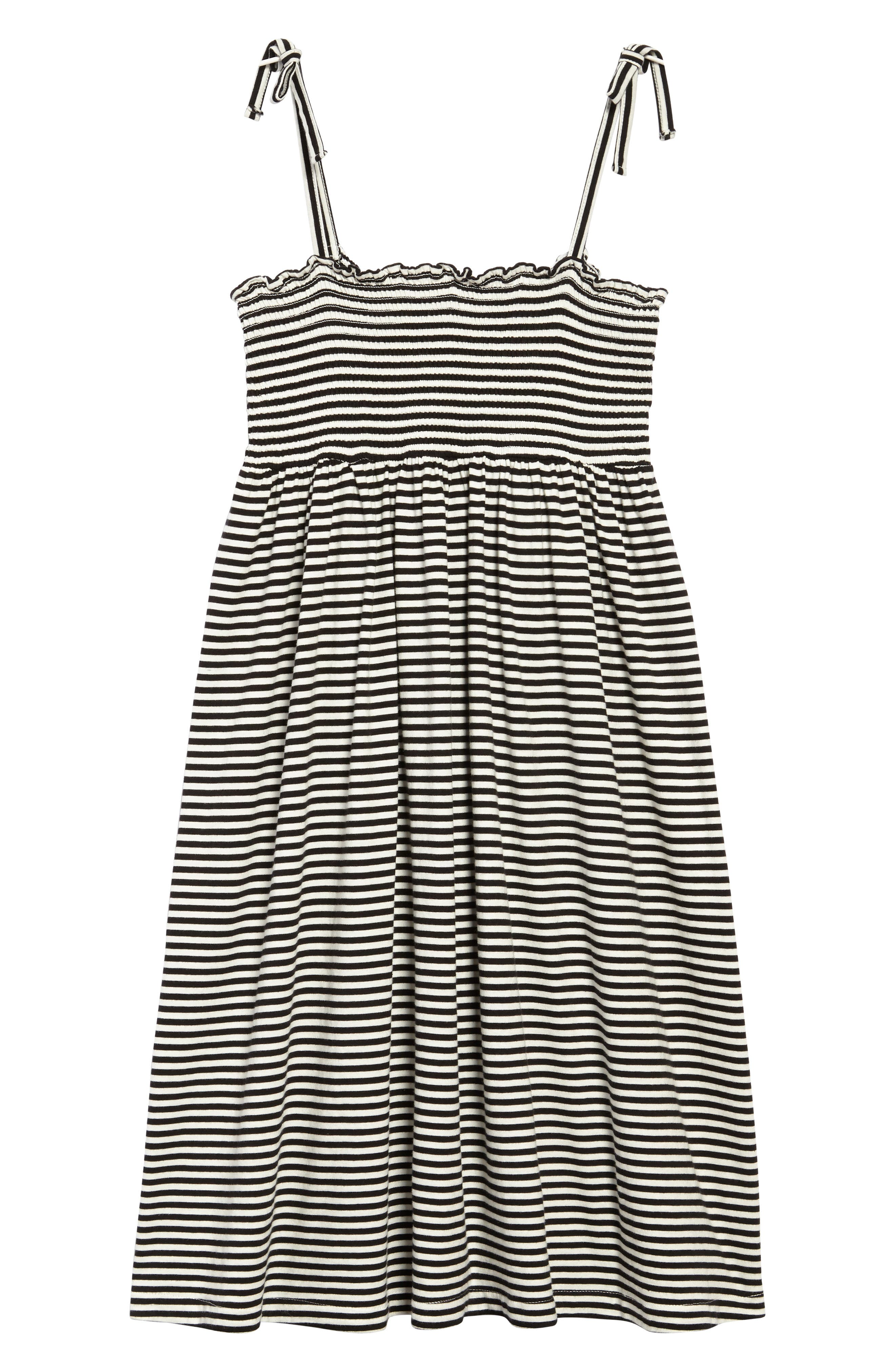 Stripe Smocked Bodice Dress,                             Main thumbnail 1, color,                             Black Ivory Stripe