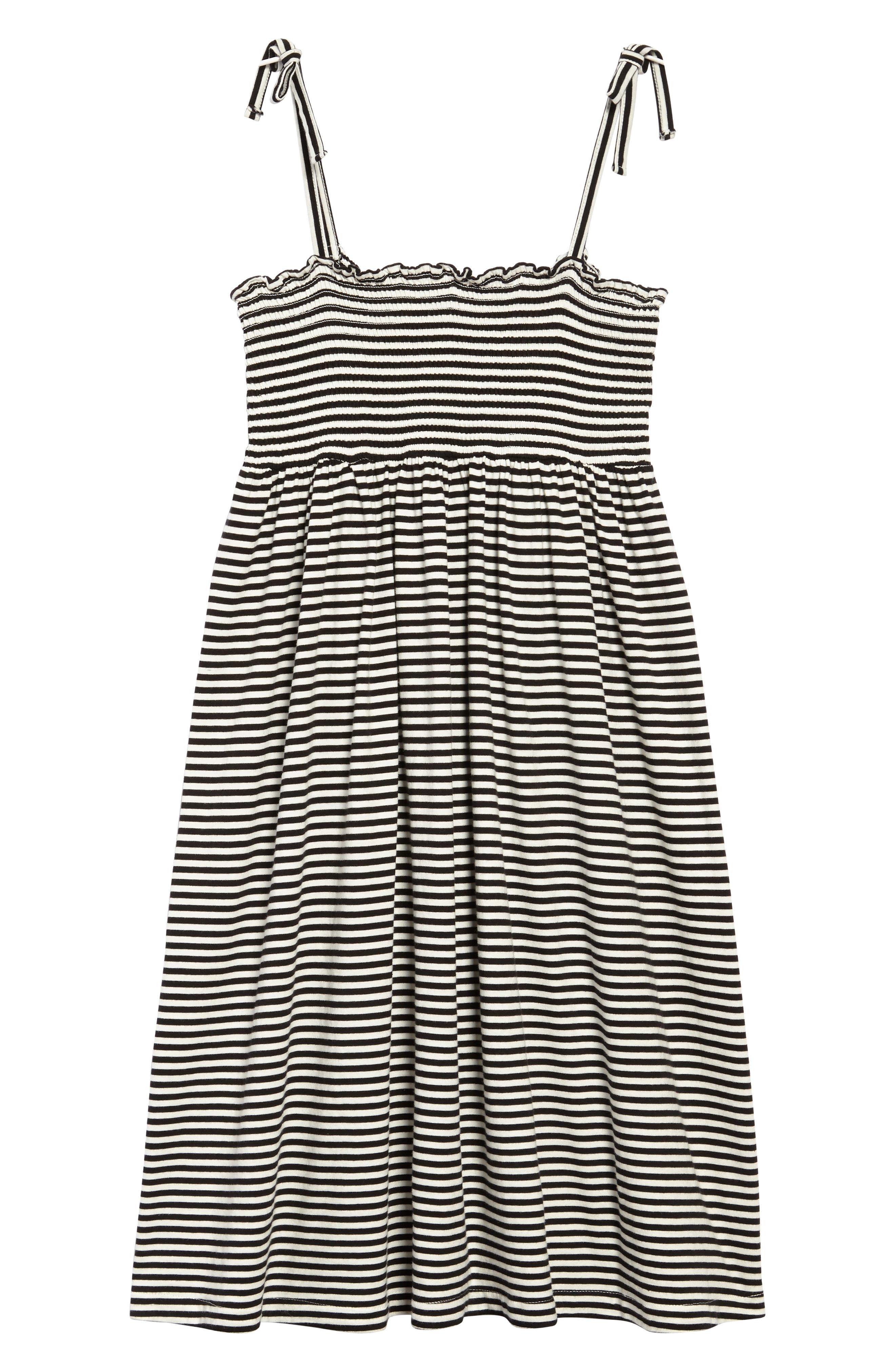 Stripe Smocked Bodice Dress,                         Main,                         color, Black Ivory Stripe