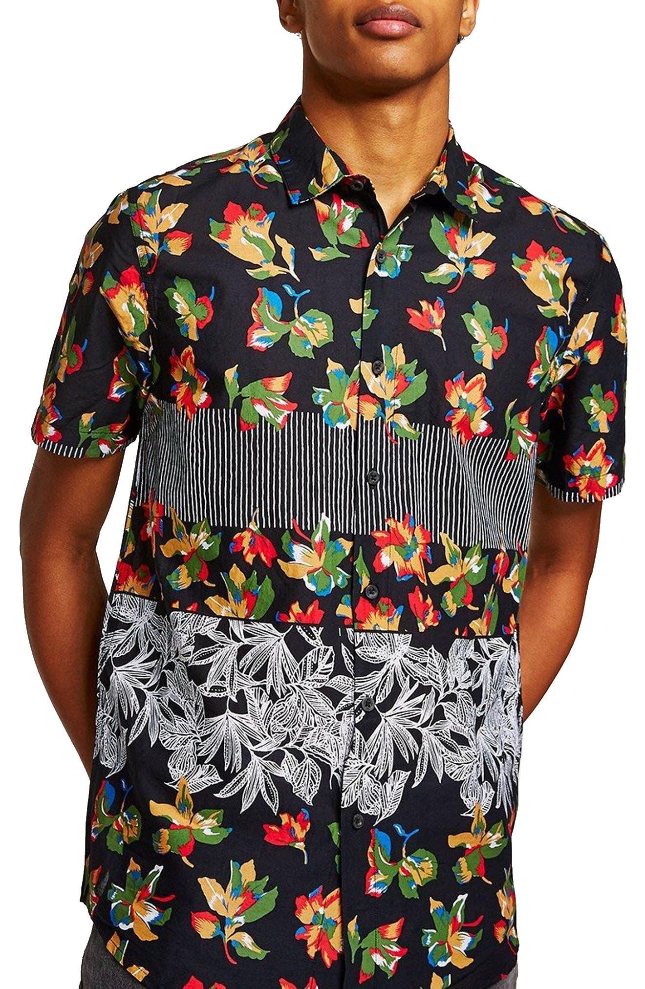 Multi Print Shirt,                             Main thumbnail 1, color,                             Black Multi