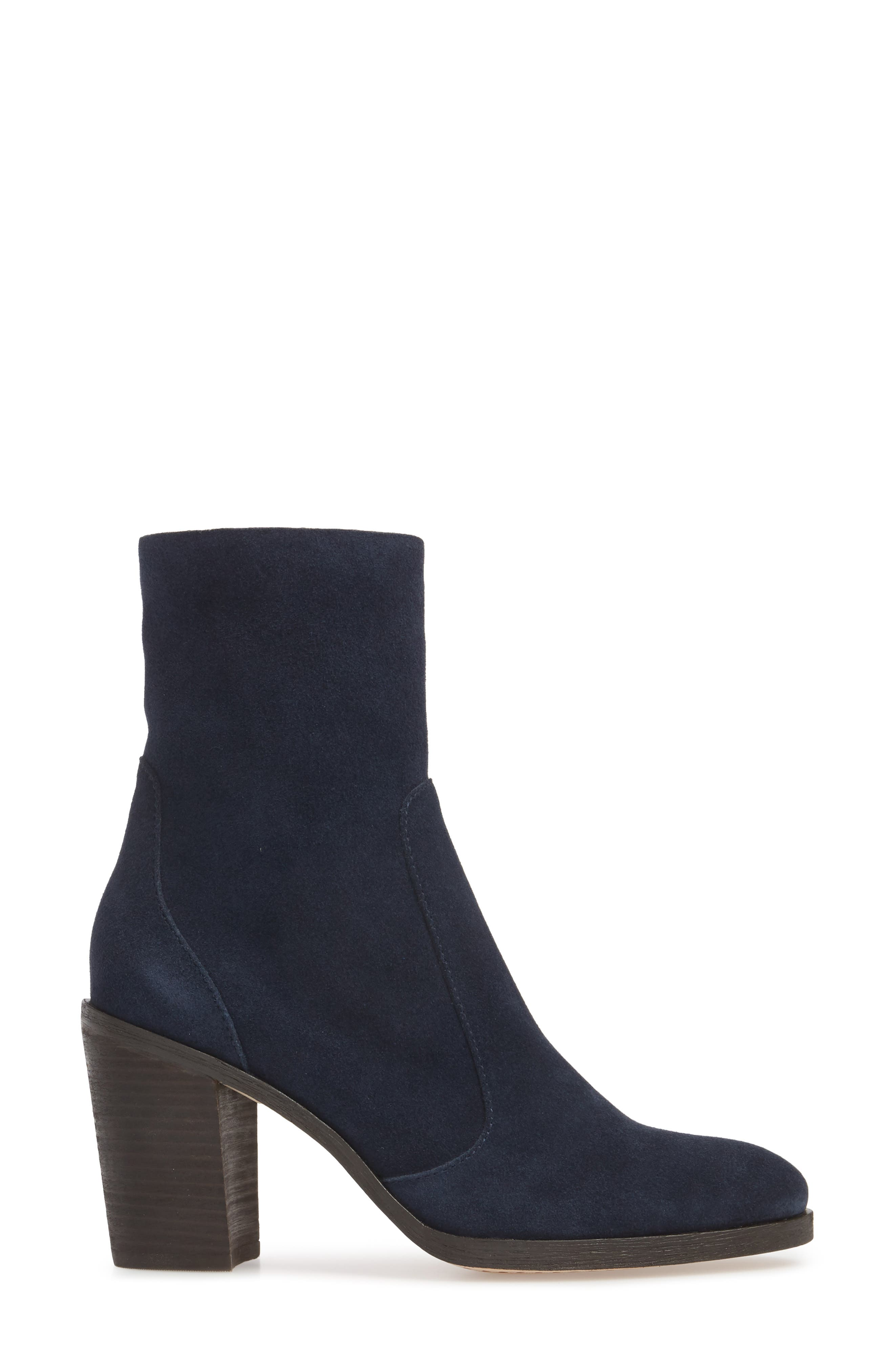 Roselyn II Almond Toe Bootie,                             Alternate thumbnail 3, color,                             Navy Suede