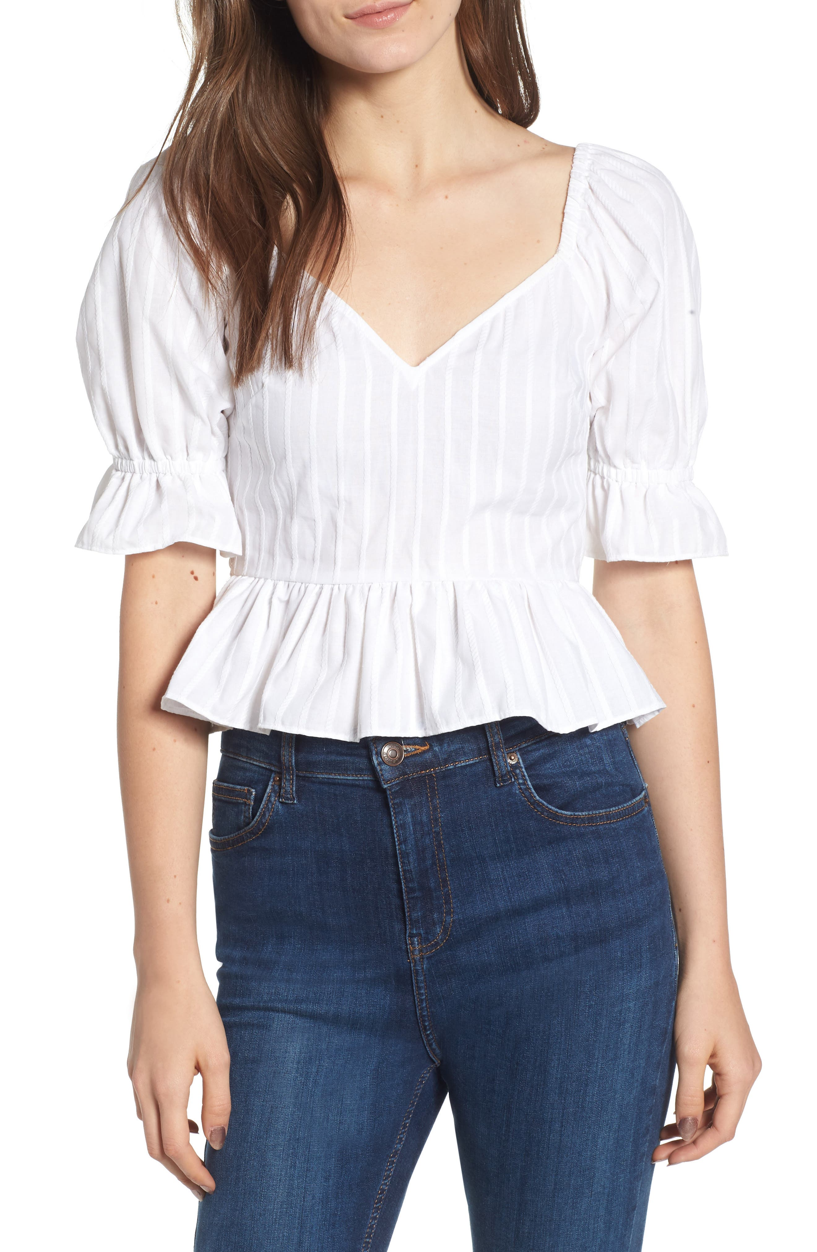 Currency Puff Sleeve Top,                             Main thumbnail 1, color,                             White