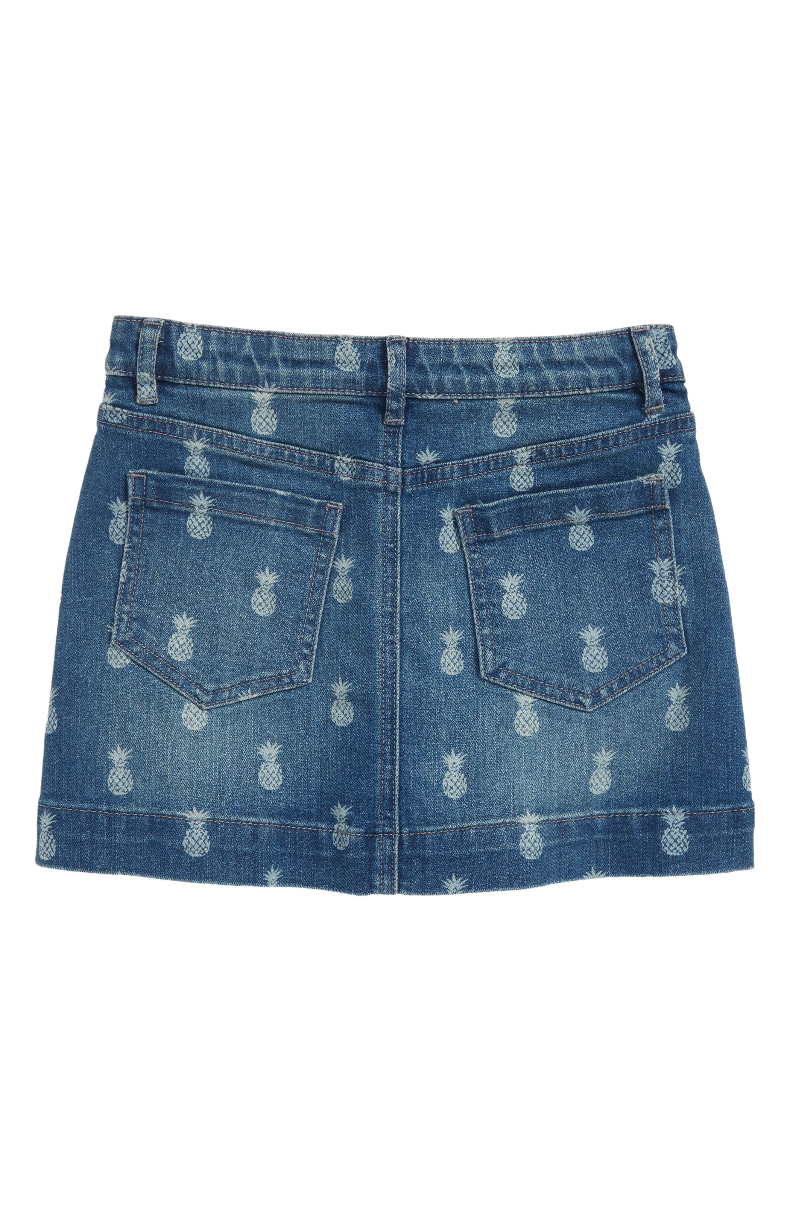 Pineapple Print Denim Skirt,                             Alternate thumbnail 2, color,                             Indigo Ivory