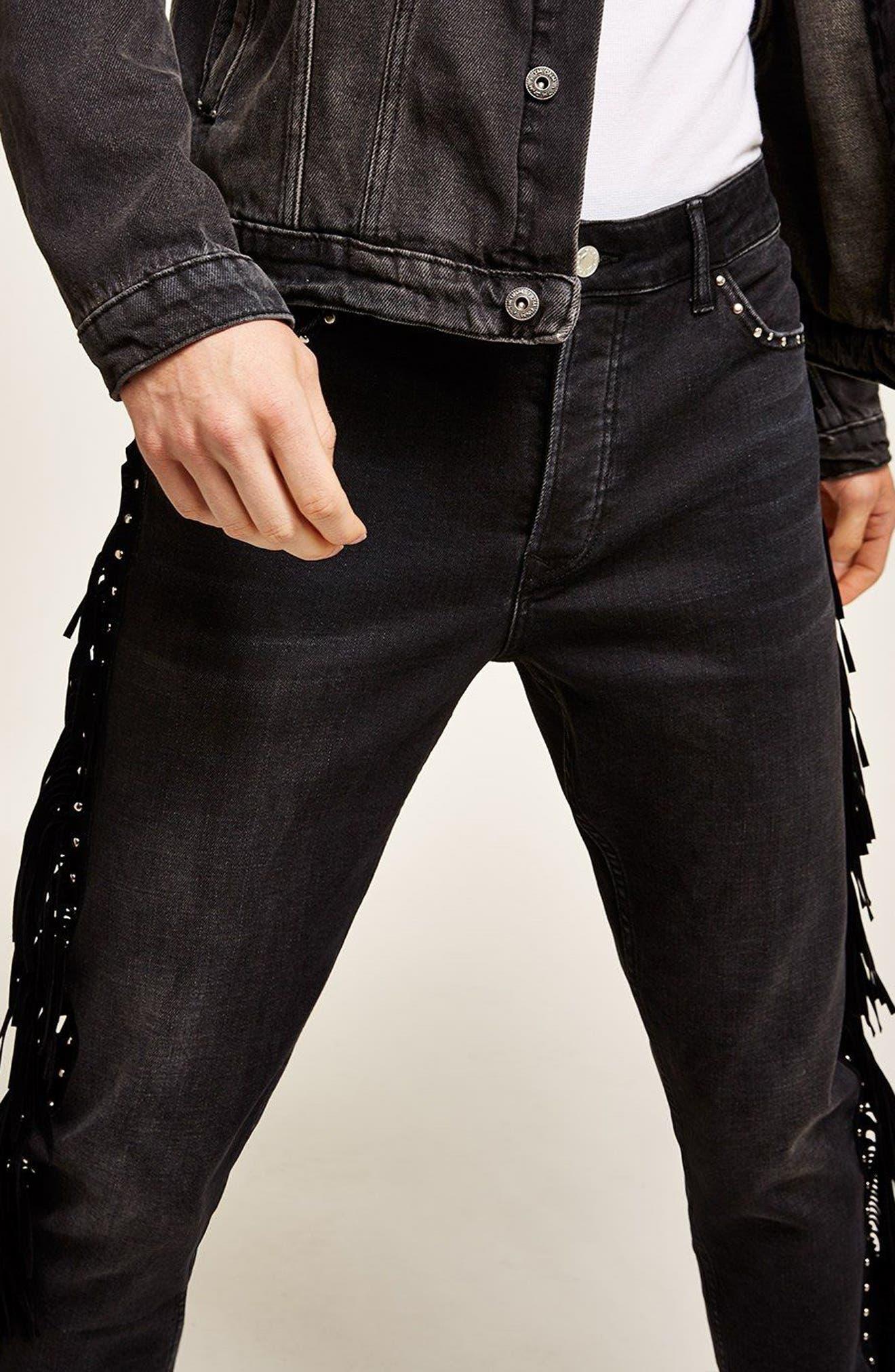 Studded Fringe Skinny Fit Jeans,                             Alternate thumbnail 2, color,                             Black