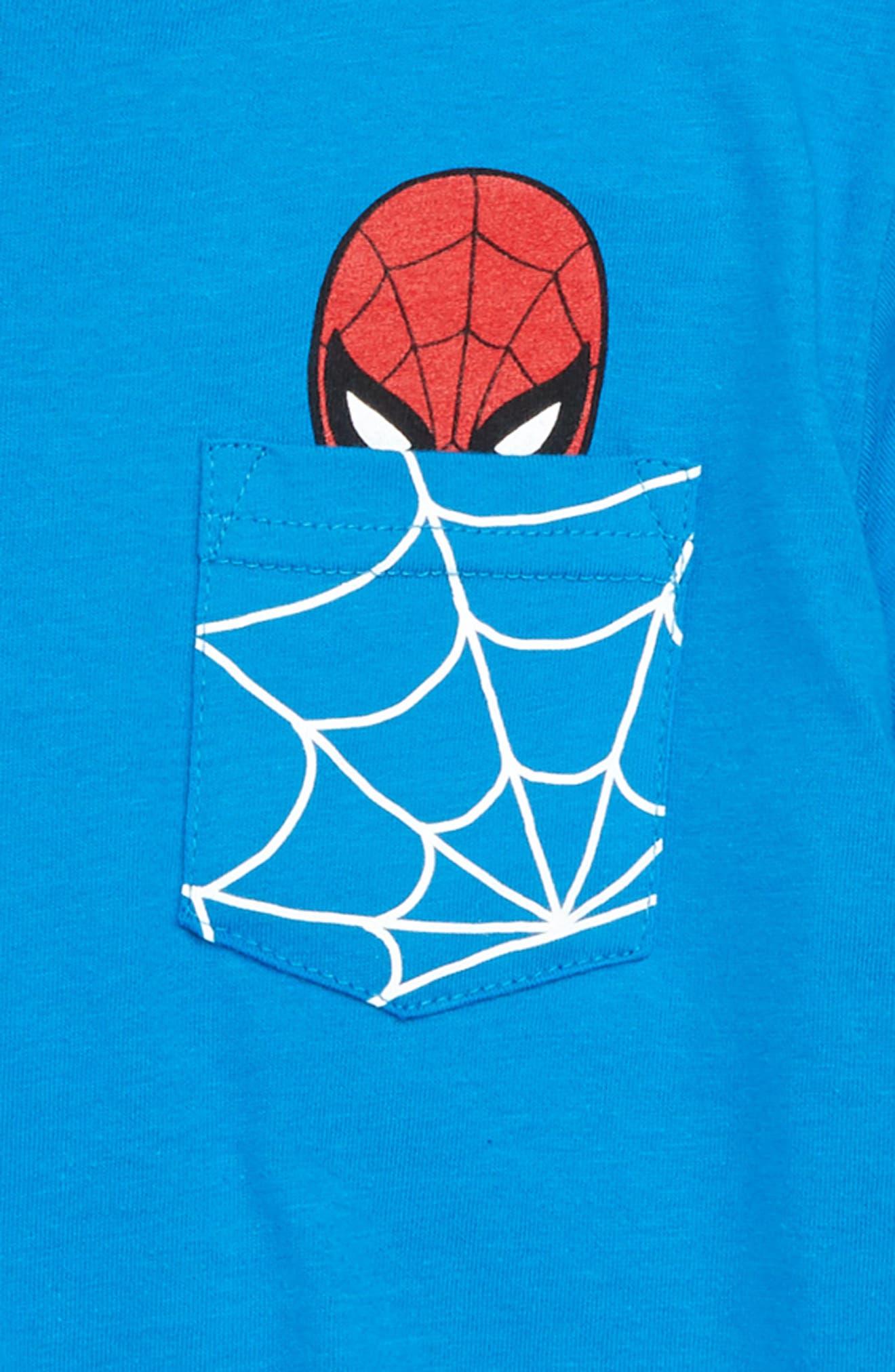 x Marvel<sup>®</sup> Avengers Spider-Man<sup>™</sup> Pocket T-Shirt,                             Alternate thumbnail 3, color,                             Blue