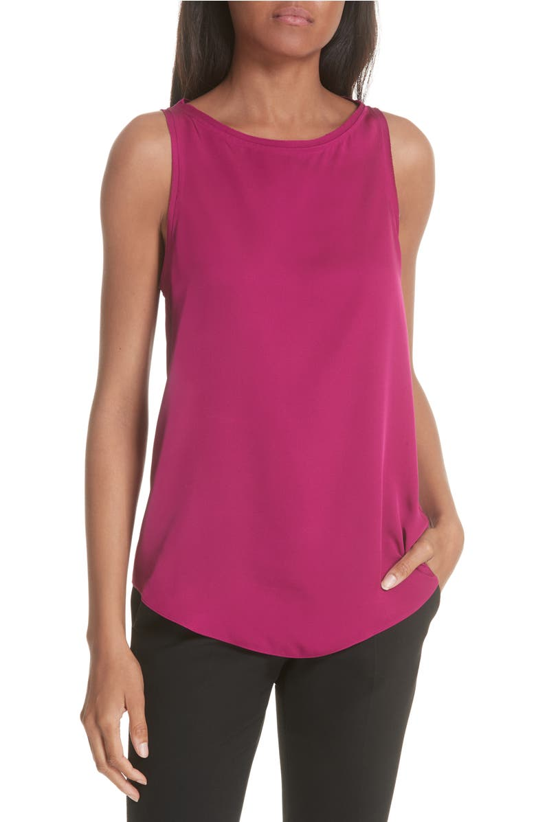 ed15a1077f3 Theory Modern Racerback Silk Georgette Tank In Electric Pink | ModeSens