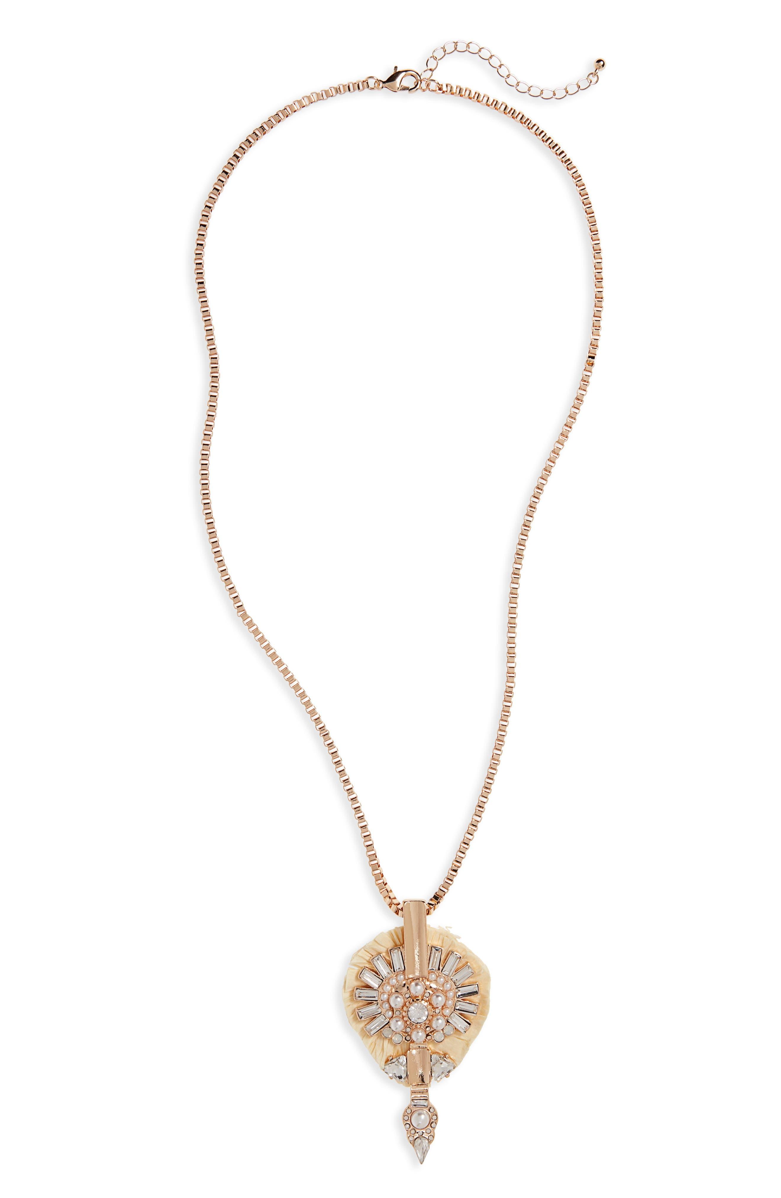 Brooch Pendant,                         Main,                         color, Gold/ Cream/ Pearl