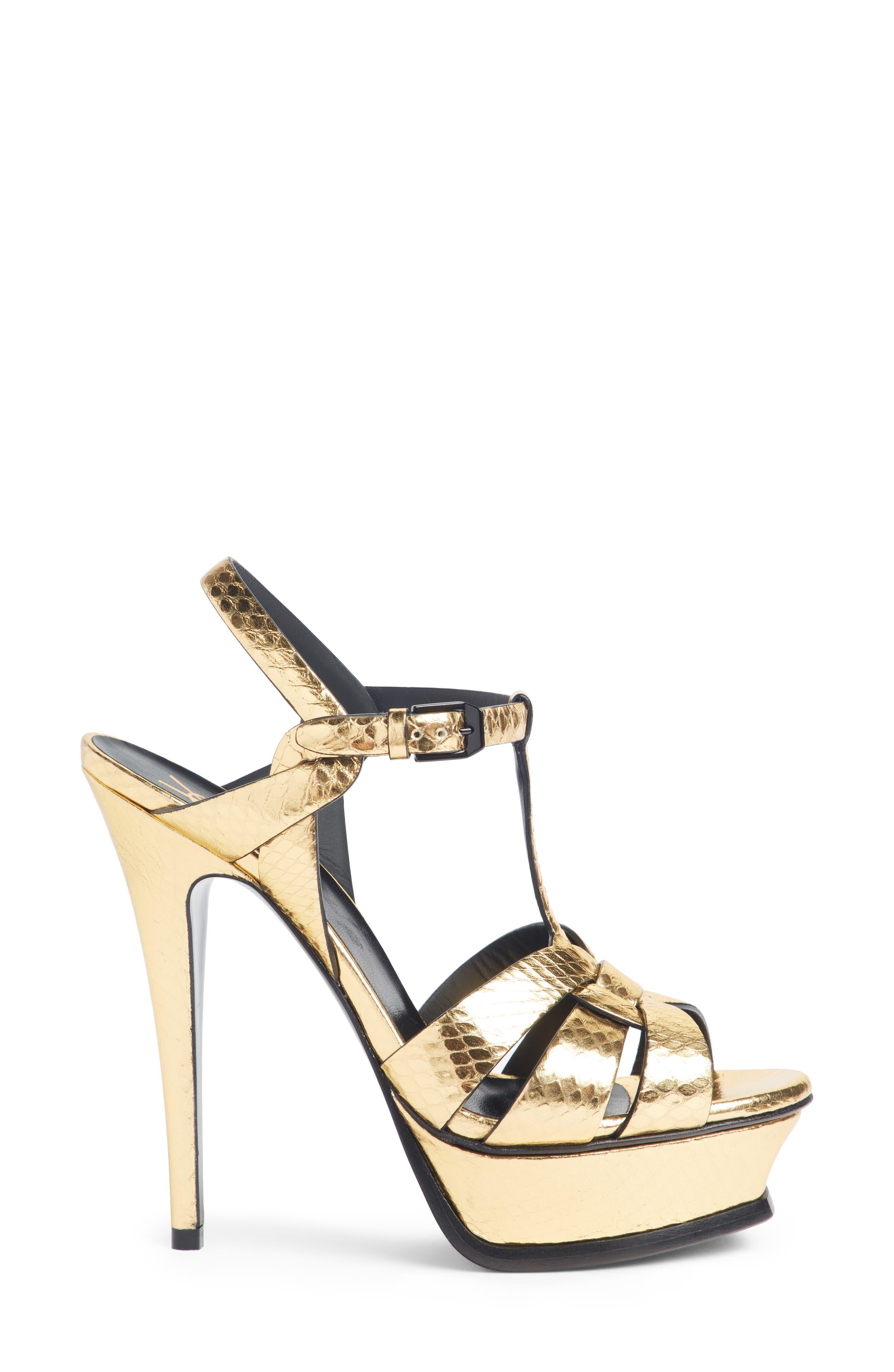 Tribute Metallic Platform Sandal,                             Alternate thumbnail 4, color,                             Pale Gold