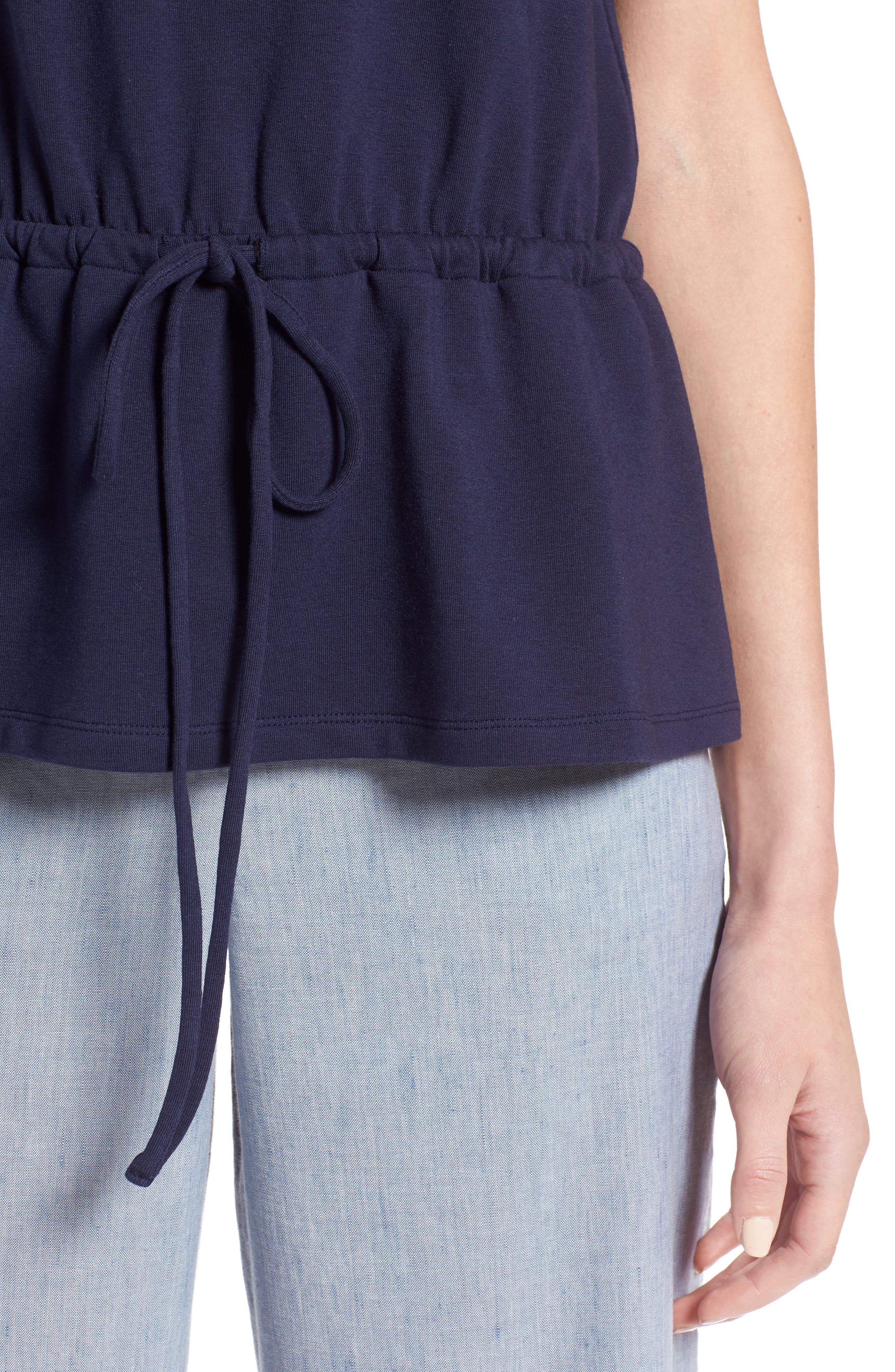 Drawcord Peplum Cotton Blend Top,                             Alternate thumbnail 4, color,                             Navy Peacoat