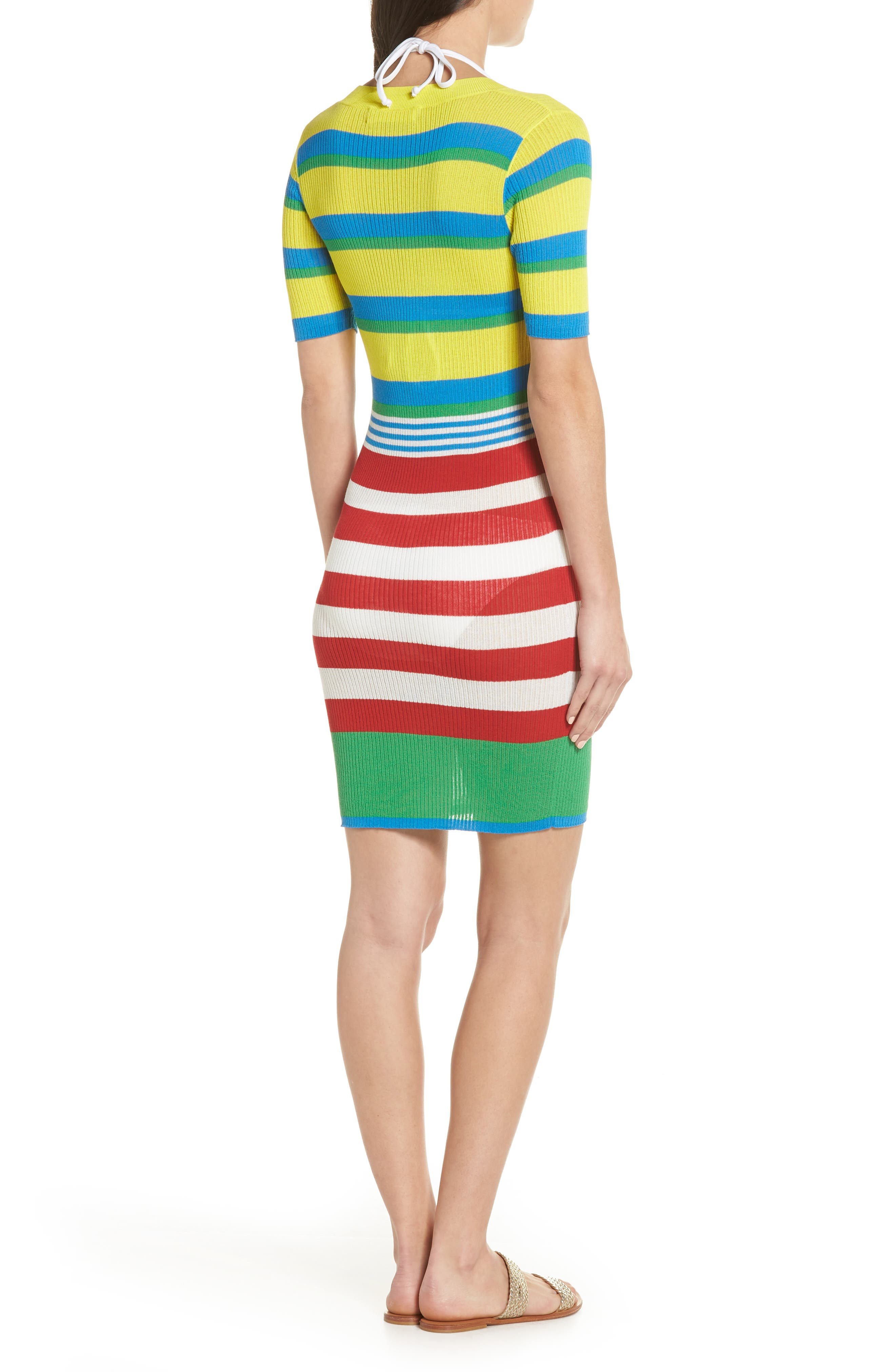 DVF Stripe Ribbed Cover-Up Sweater Dress,                             Alternate thumbnail 2, color,                             Cadmium Multi