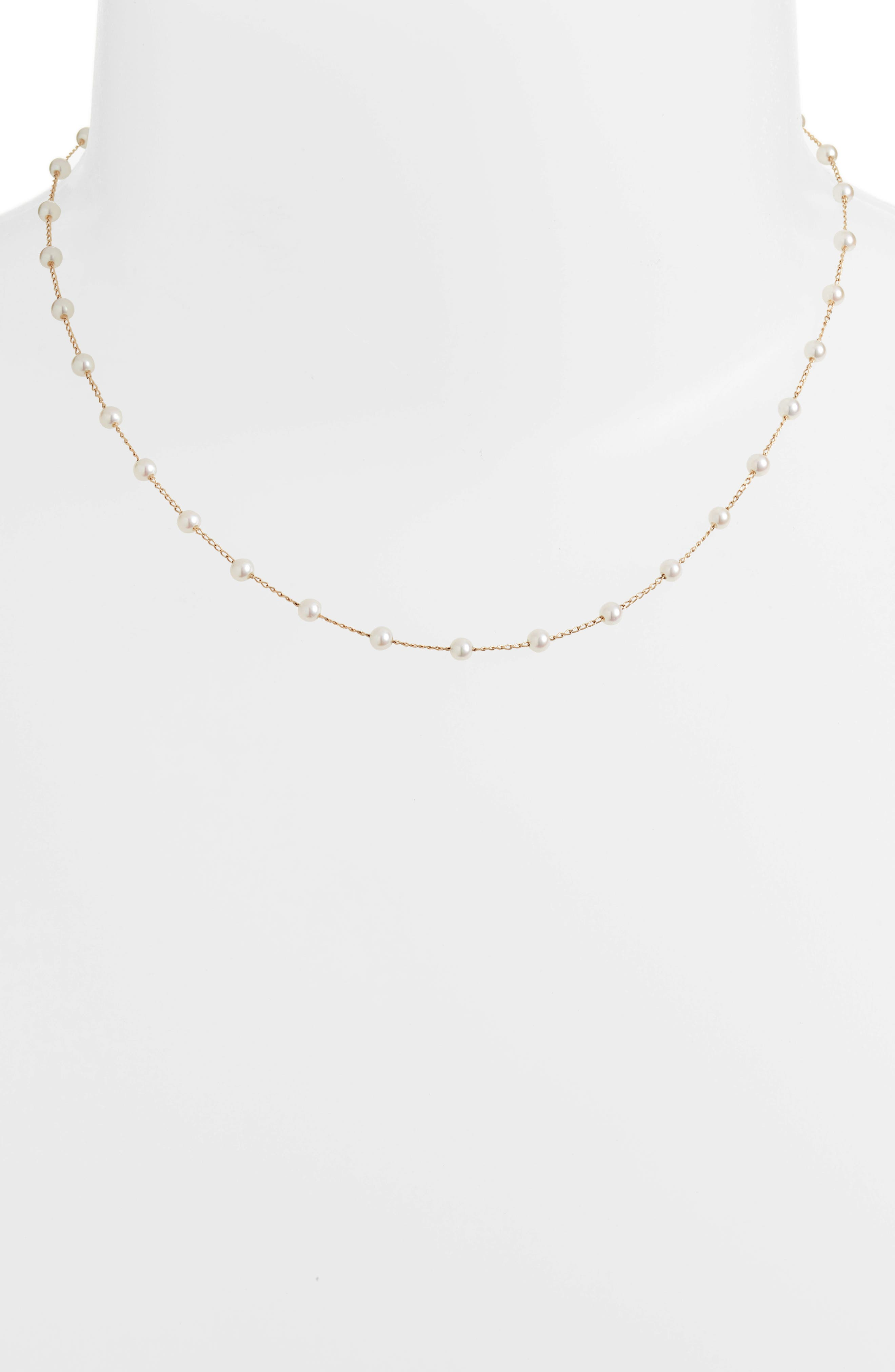 Pearl Choker Necklace,                             Alternate thumbnail 2, color,                             Yellow Gold/ Pearl
