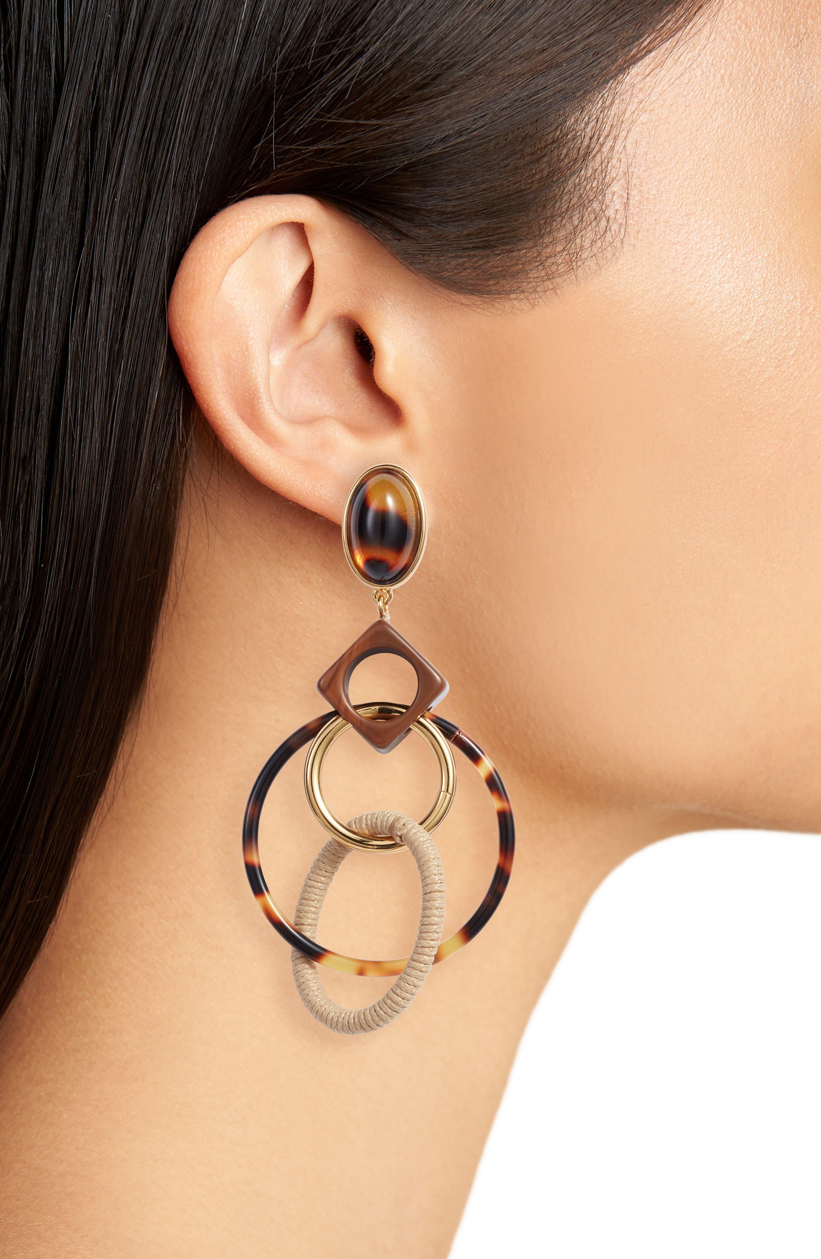 Spinning Hoop Earrings,                             Alternate thumbnail 2, color,                             Tortoise Multi/ Tory Gold