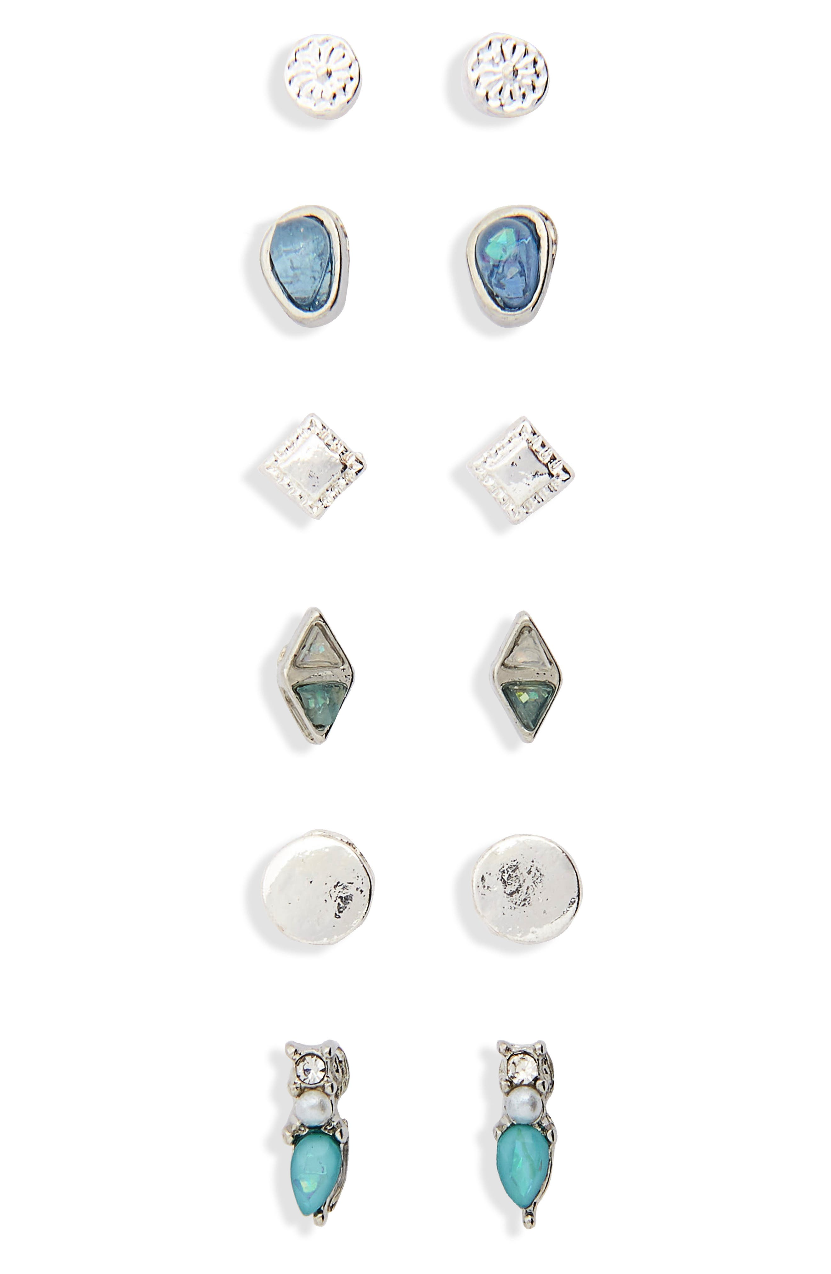 6-Pack Dainty Stone Stud Earrings,                             Main thumbnail 1, color,                             Silver/ Blue