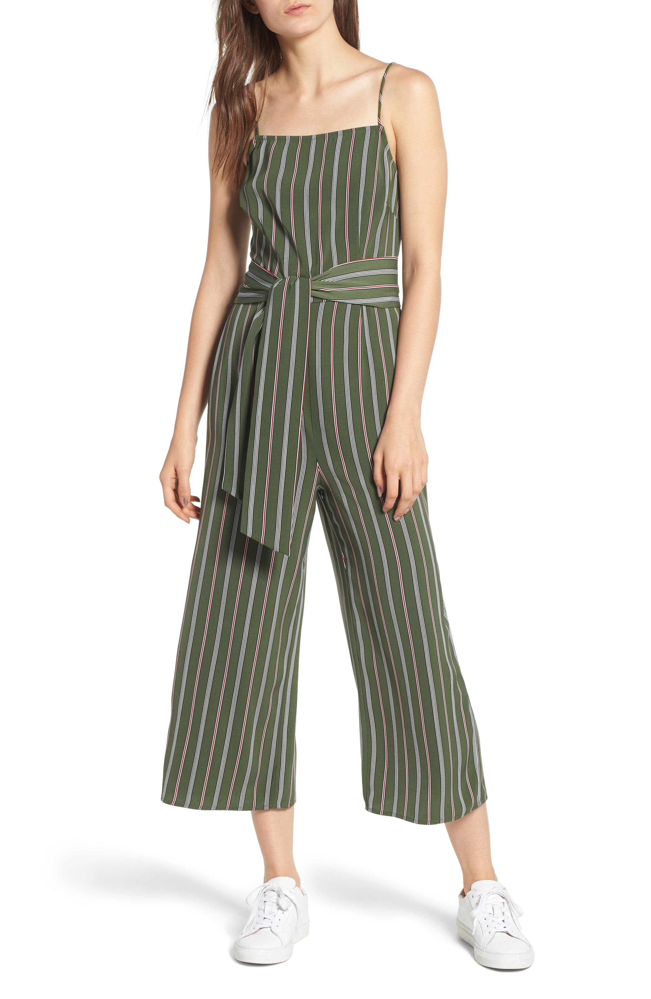 THE FIFTH LABEL AXIAL STRIPE CROP JUMPSUIT