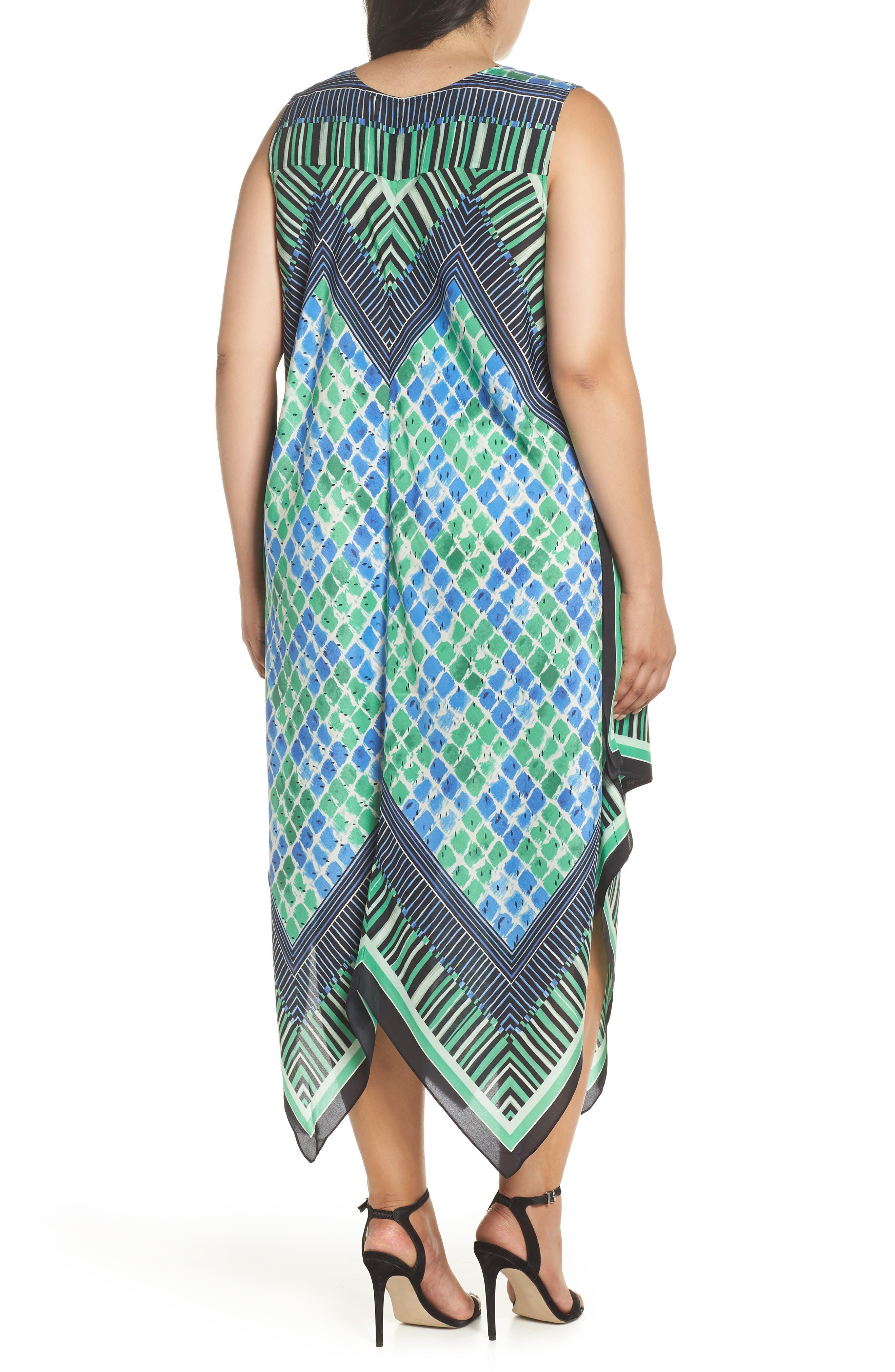 DJ Vu Handkerchief Hem Silk Blend Dress,                             Alternate thumbnail 2, color,                             Multi