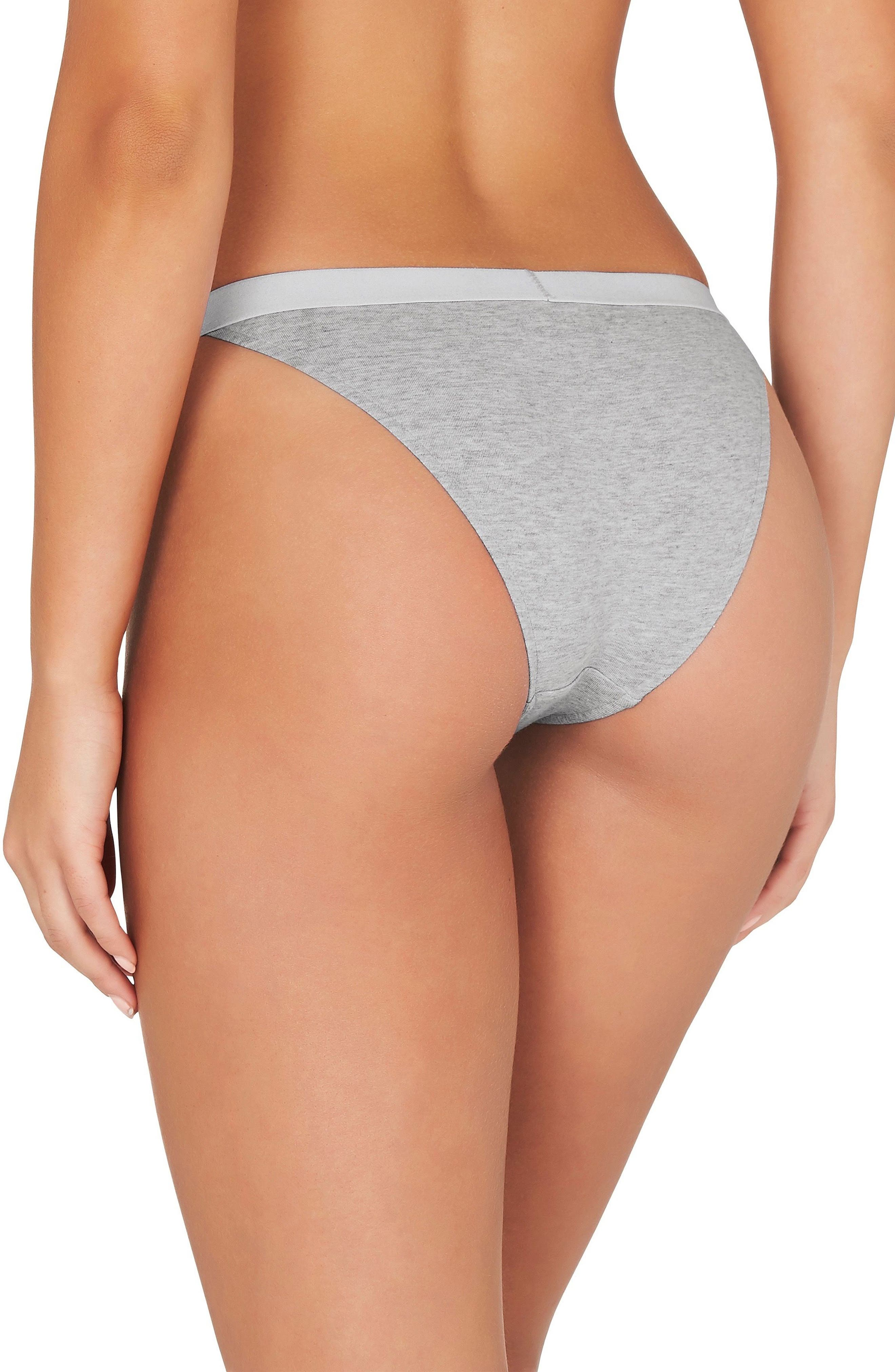 2-Pack Stretch Organic Cotton Bikinis,                             Alternate thumbnail 3, color,                             Grey Marle