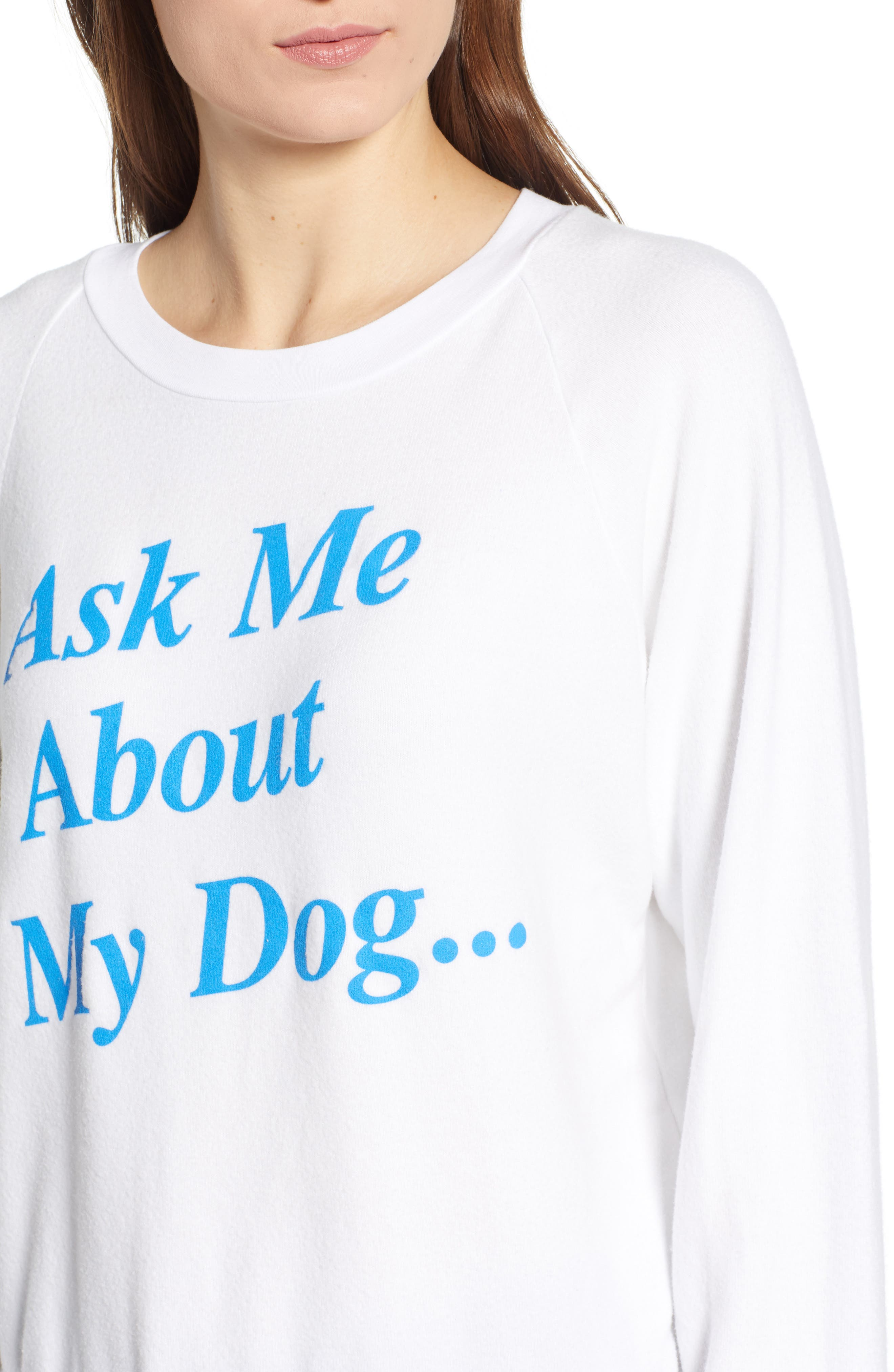 Ask Me About My Dog Sweatshirt,                             Alternate thumbnail 4, color,                             Clean White