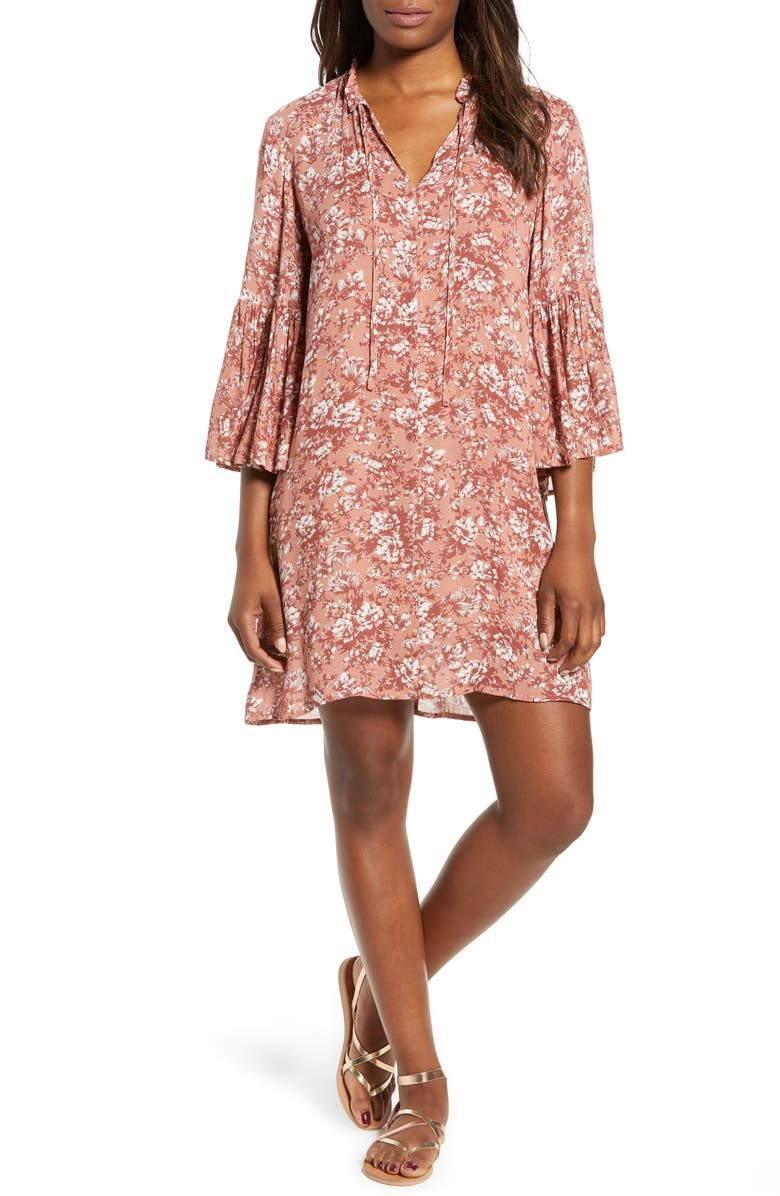 Printed Bell Sleeve Shift Dress