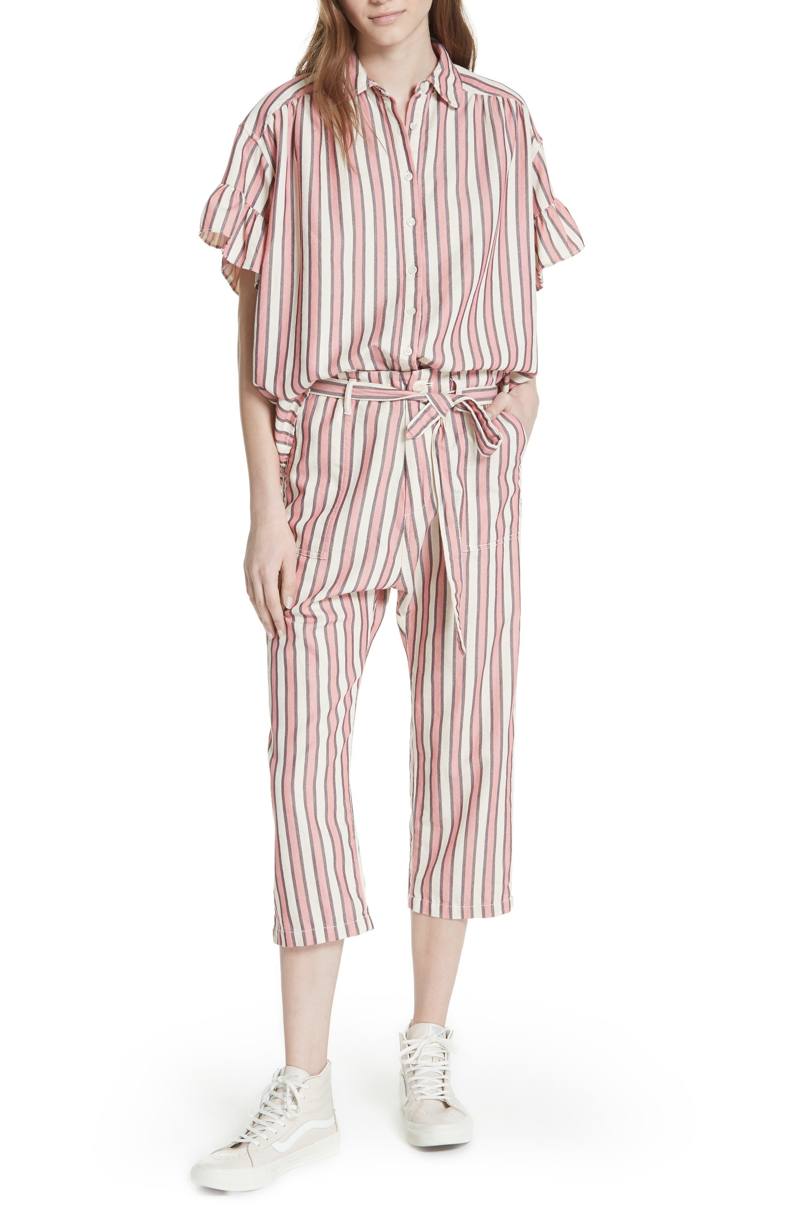 Flutter Sleeve Stripe Shirt,                             Alternate thumbnail 8, color,                             Pink Taffy Stripe