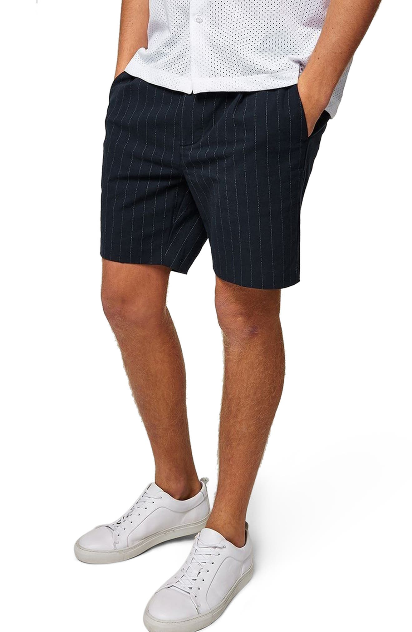Pinstripe Shorts,                         Main,                         color, Navy Blue