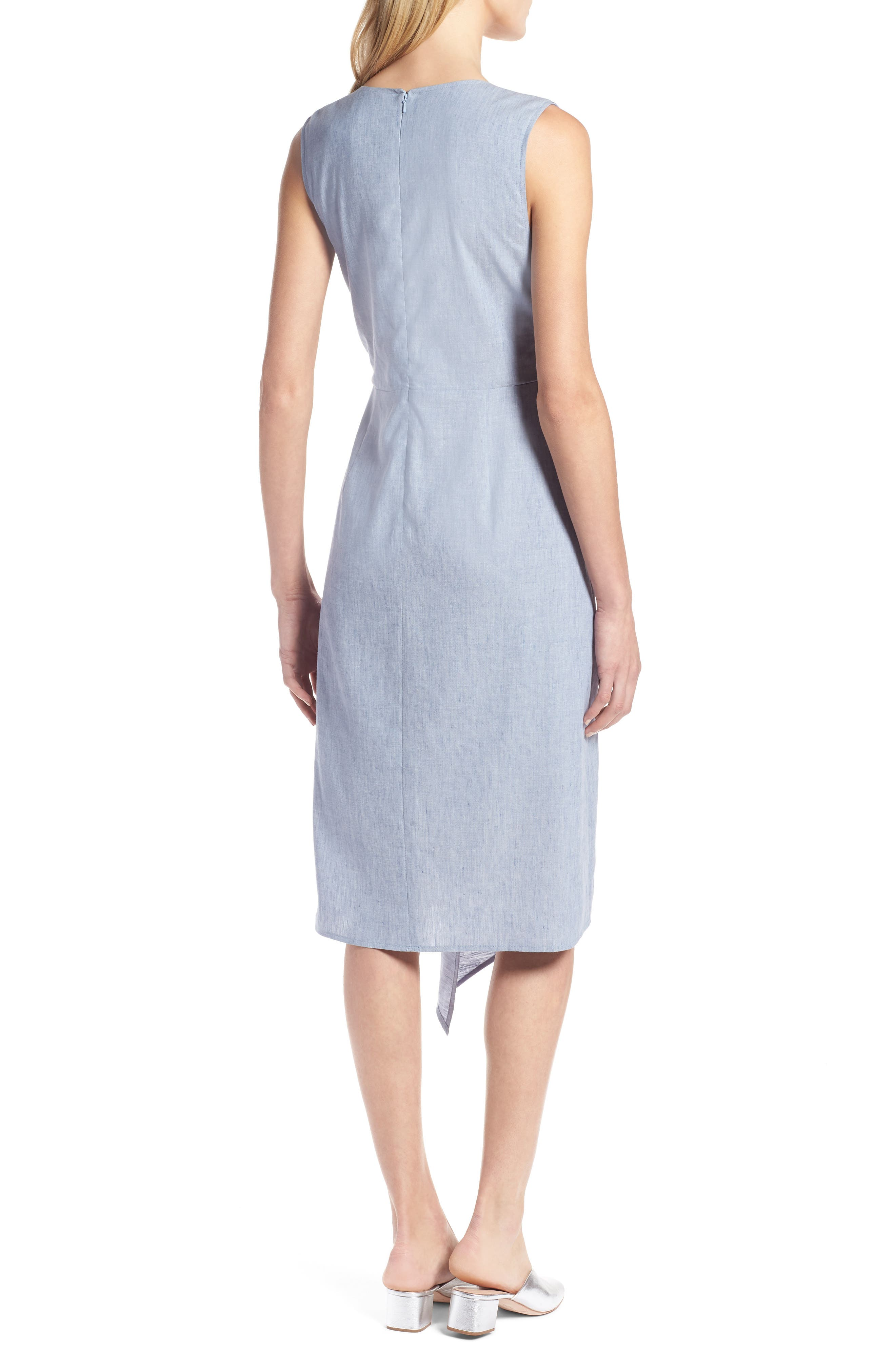 Tie Front Chambray Linen Blend Dress,                             Alternate thumbnail 2, color,                             Chambray