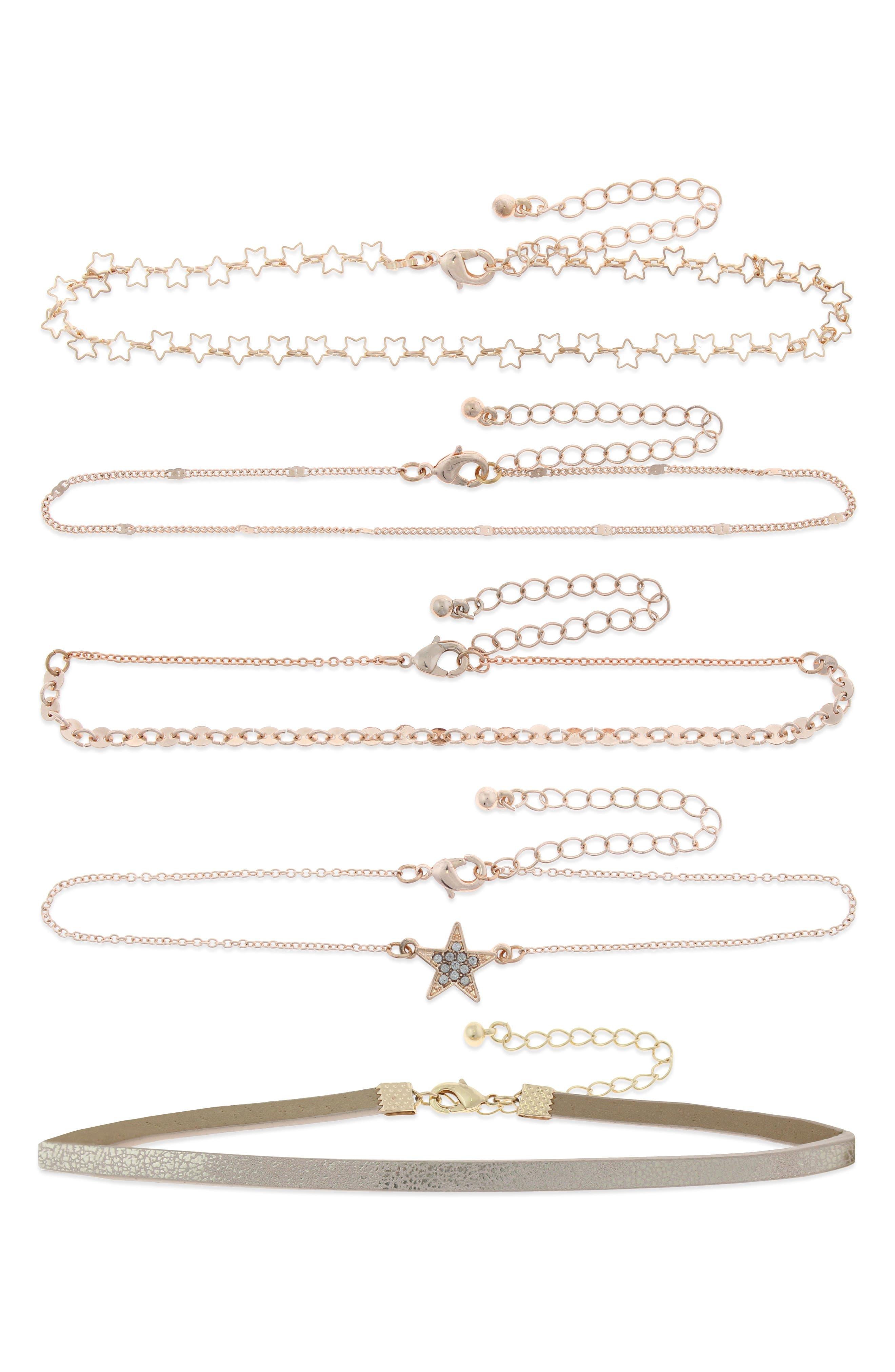 Set of 5 Choker Necklaces,                             Main thumbnail 1, color,                             Rose Gold