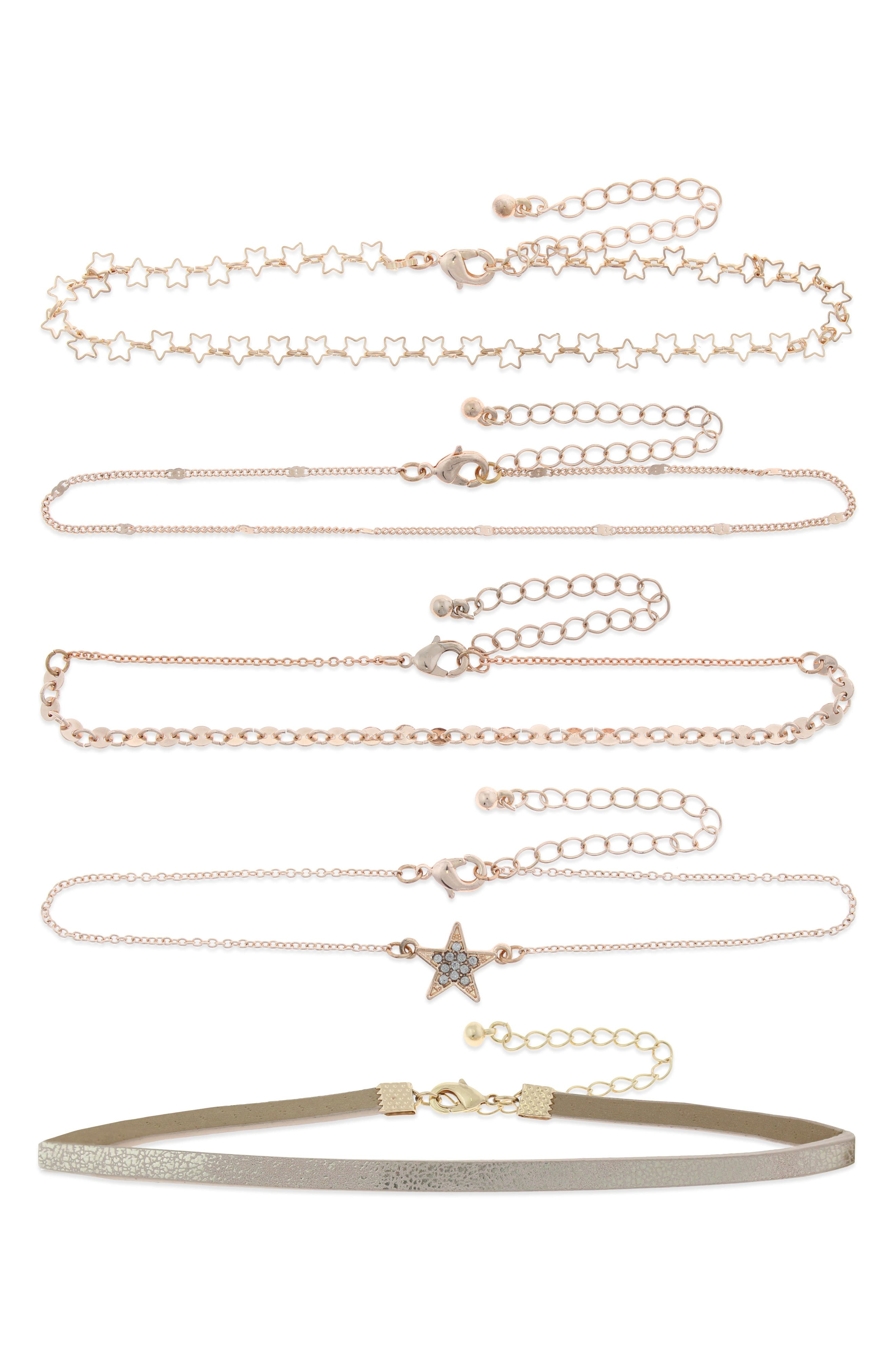 Set of 5 Choker Necklaces,                         Main,                         color, Rose Gold