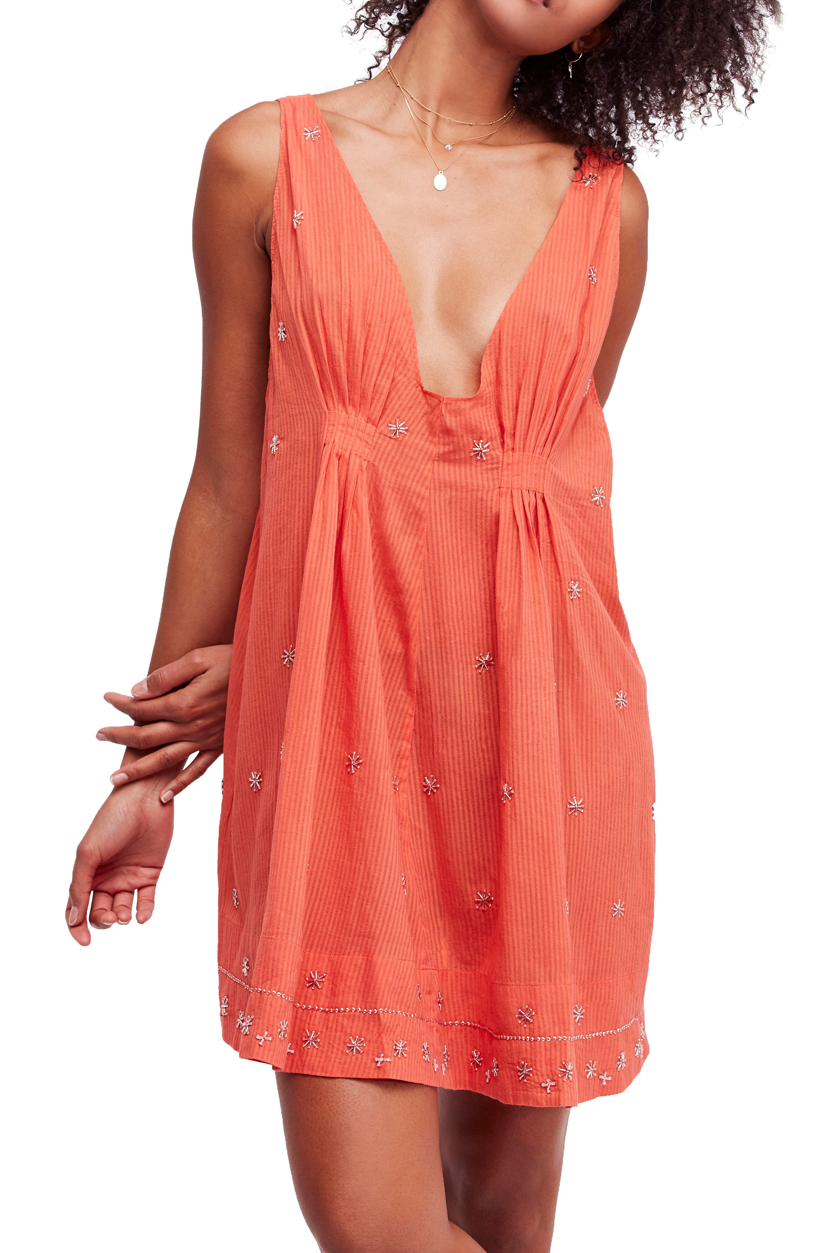 Crushin' on You Beaded Minidress,                         Main,                         color, Coral