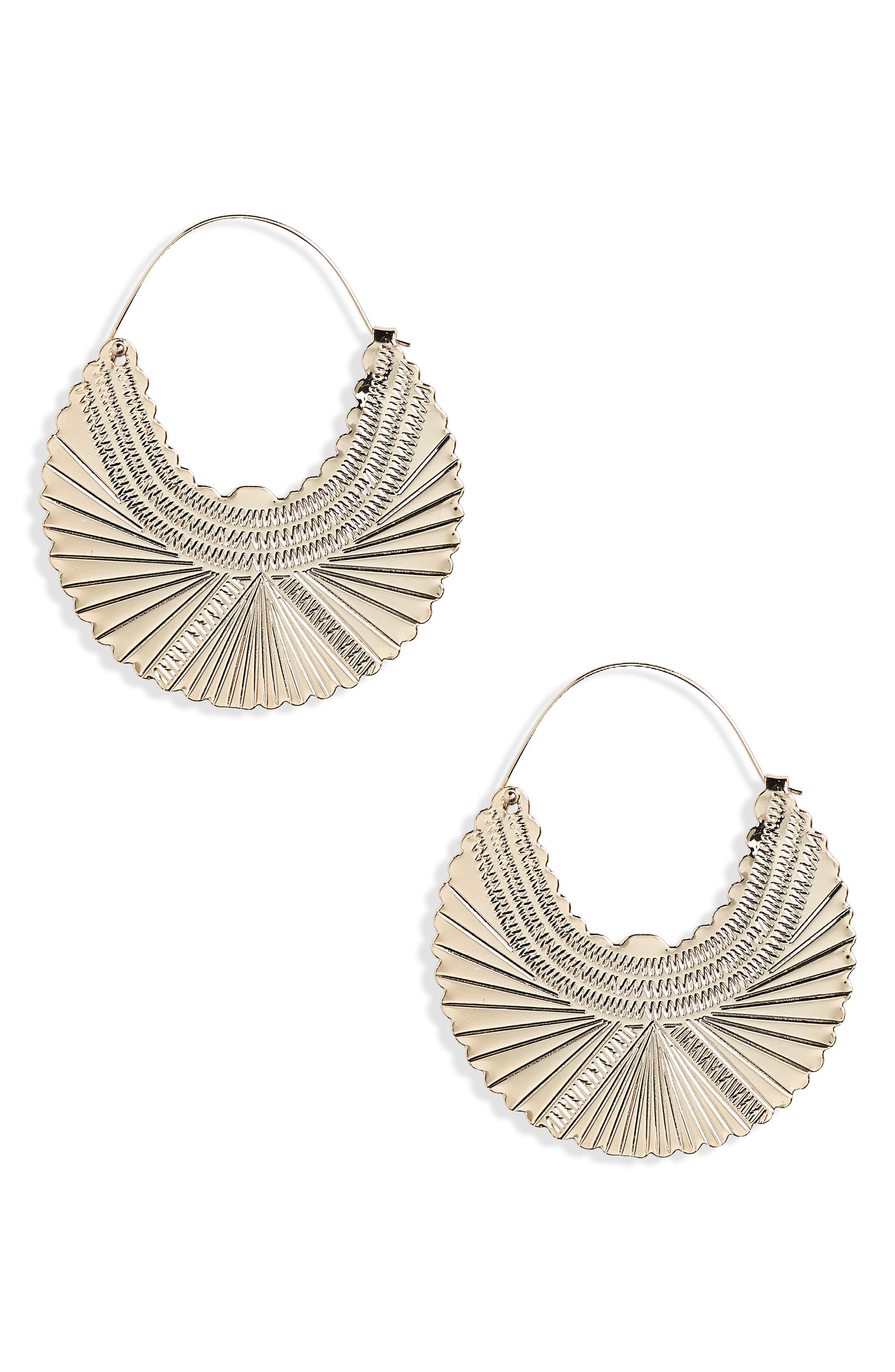 Engraved Hoop Earrings,                         Main,                         color, Gold