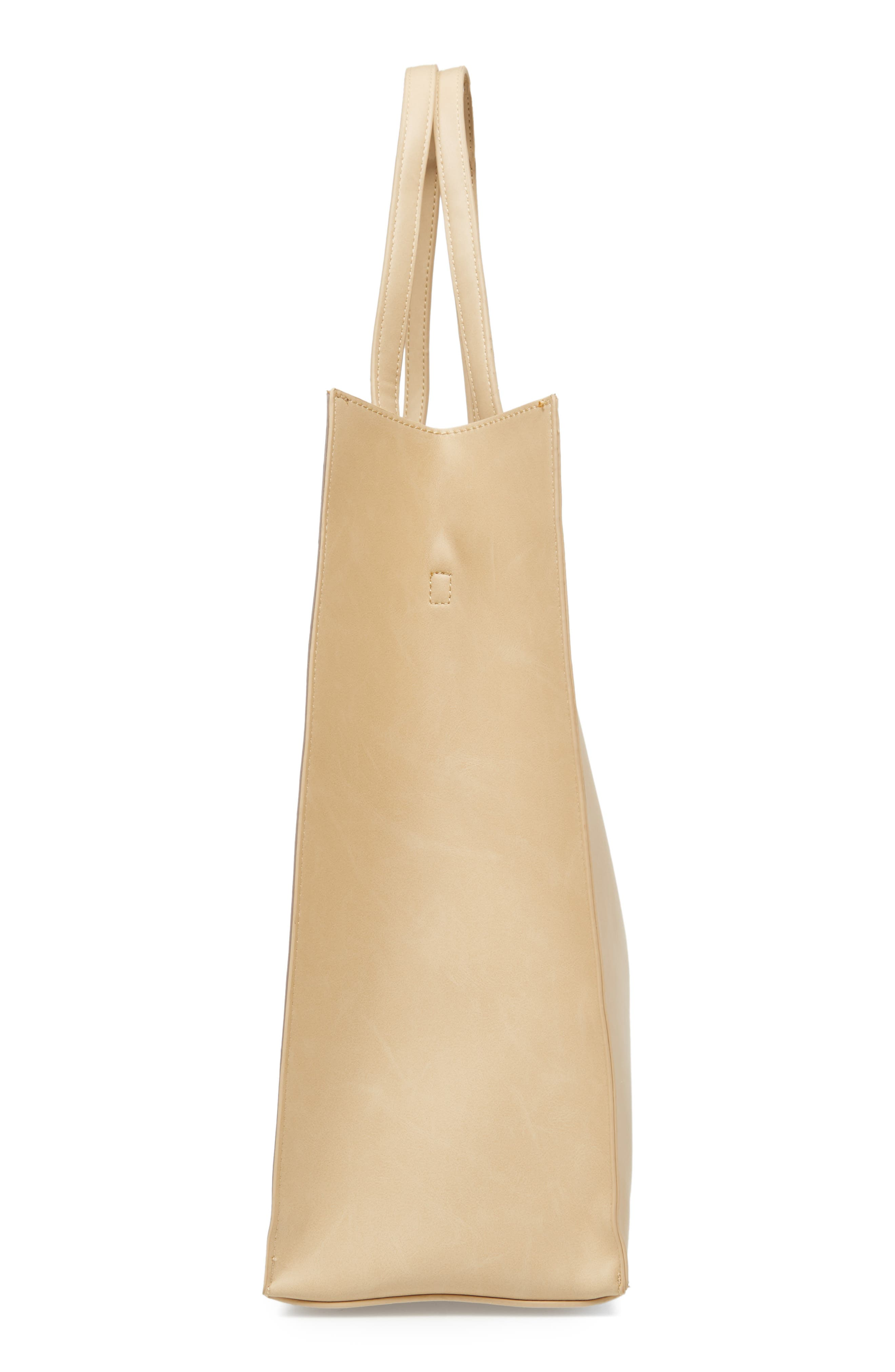 Adeline Stripe Faux Leather Tote,                             Alternate thumbnail 4, color,                             Sand