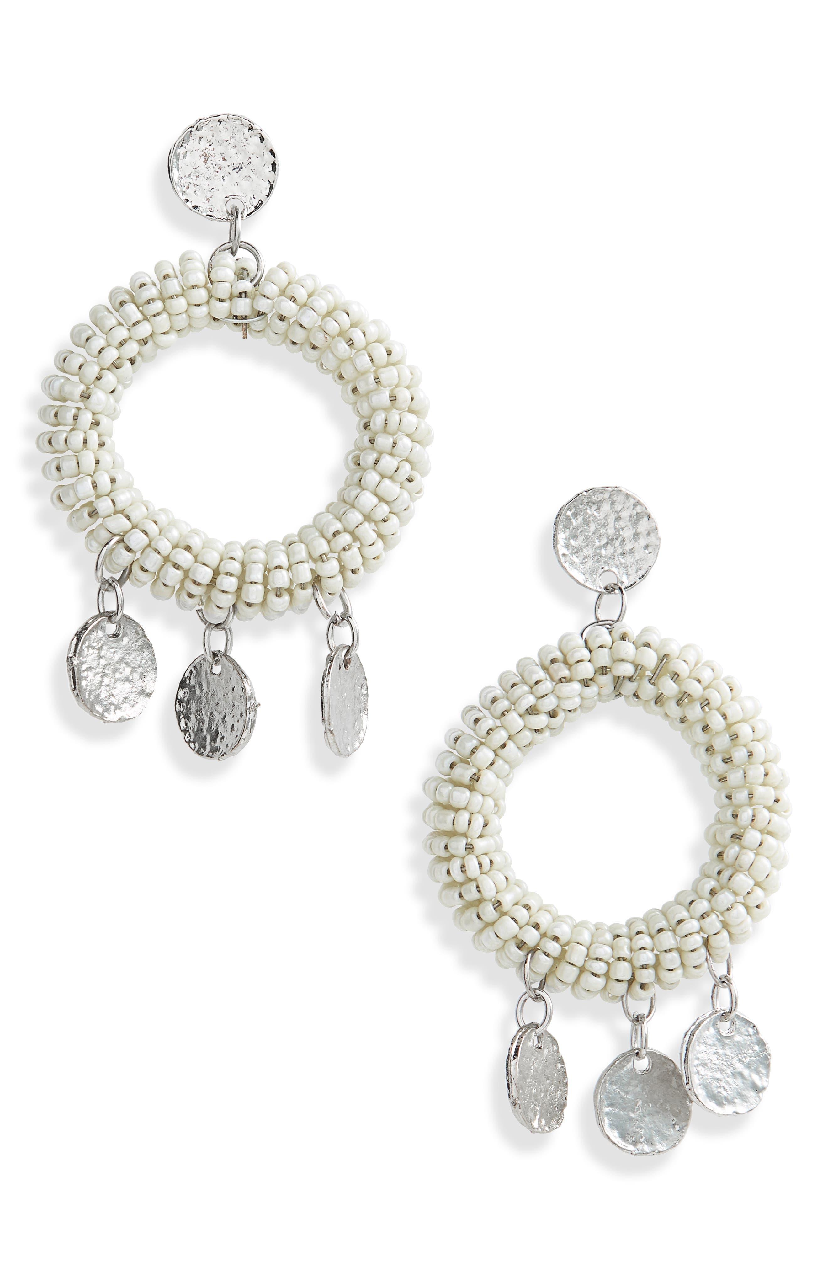 Beaded Hoop Earrings,                         Main,                         color, Cream