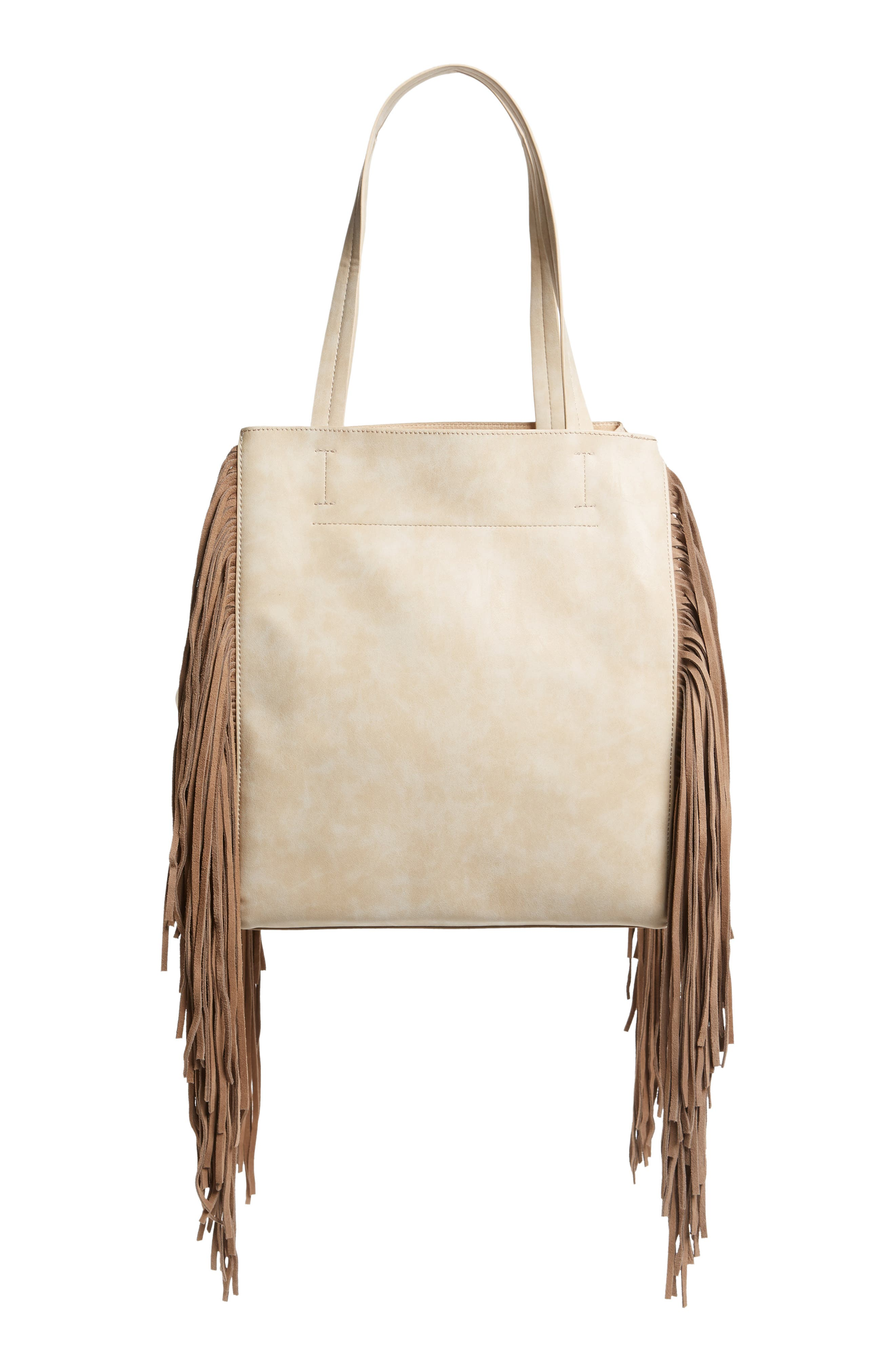 Sage Fringe Faux Leather Tote,                             Alternate thumbnail 5, color,                             Taupe