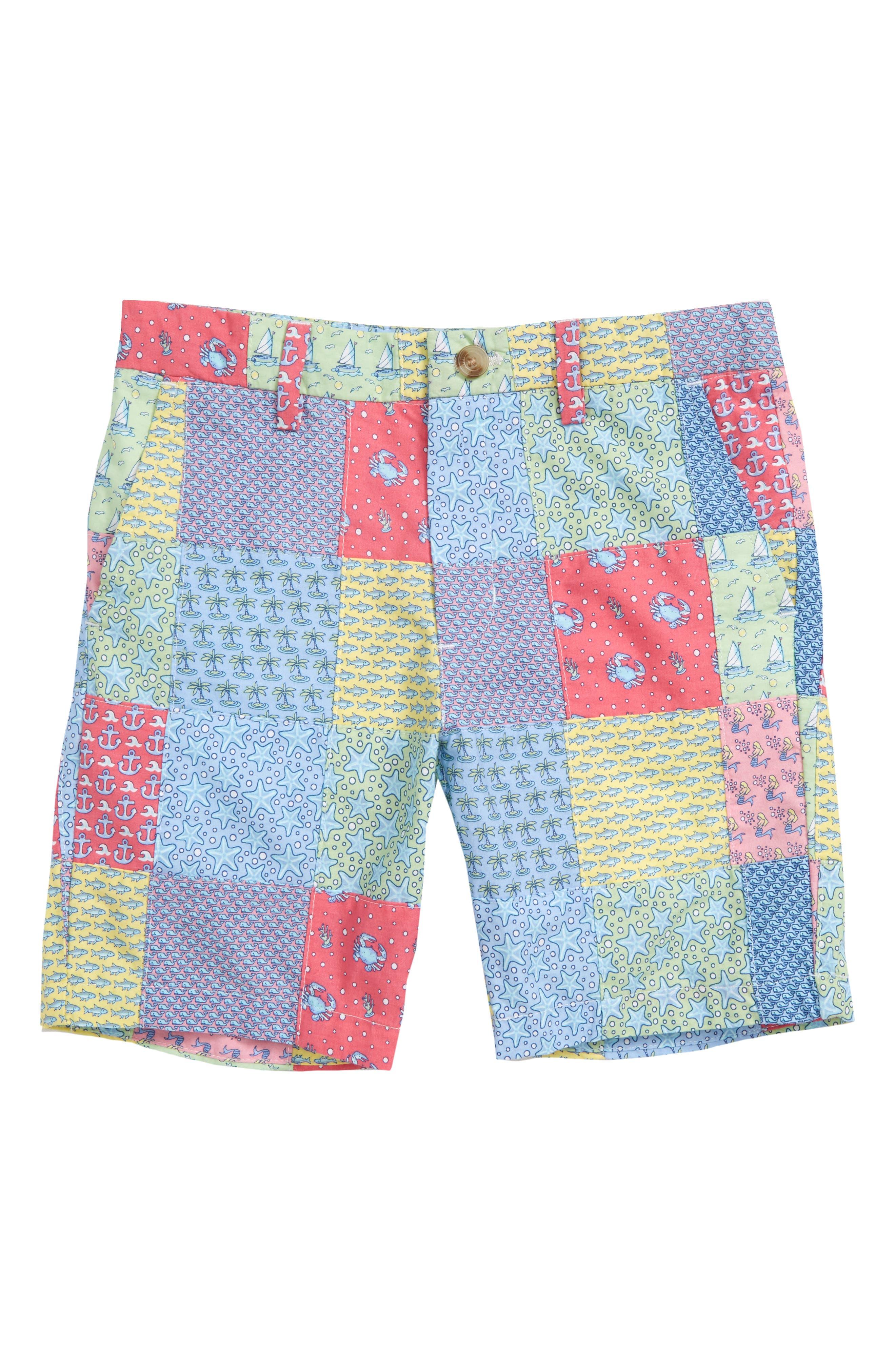 Patchwork Print Breaker Shorts,                             Main thumbnail 1, color,                             Sailors Red