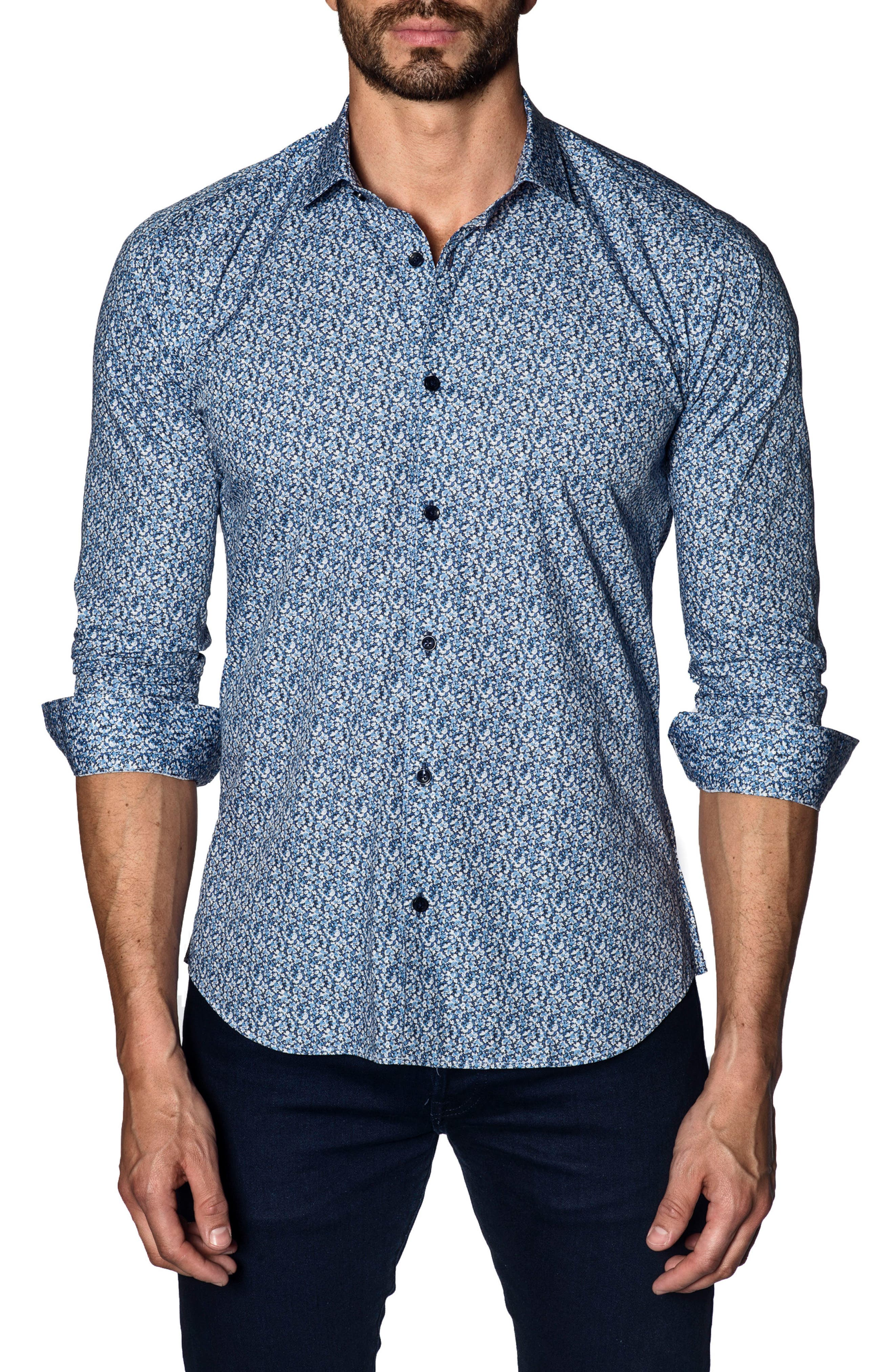 Trim Fit Sport Shirt,                             Main thumbnail 1, color,                             Blue Print