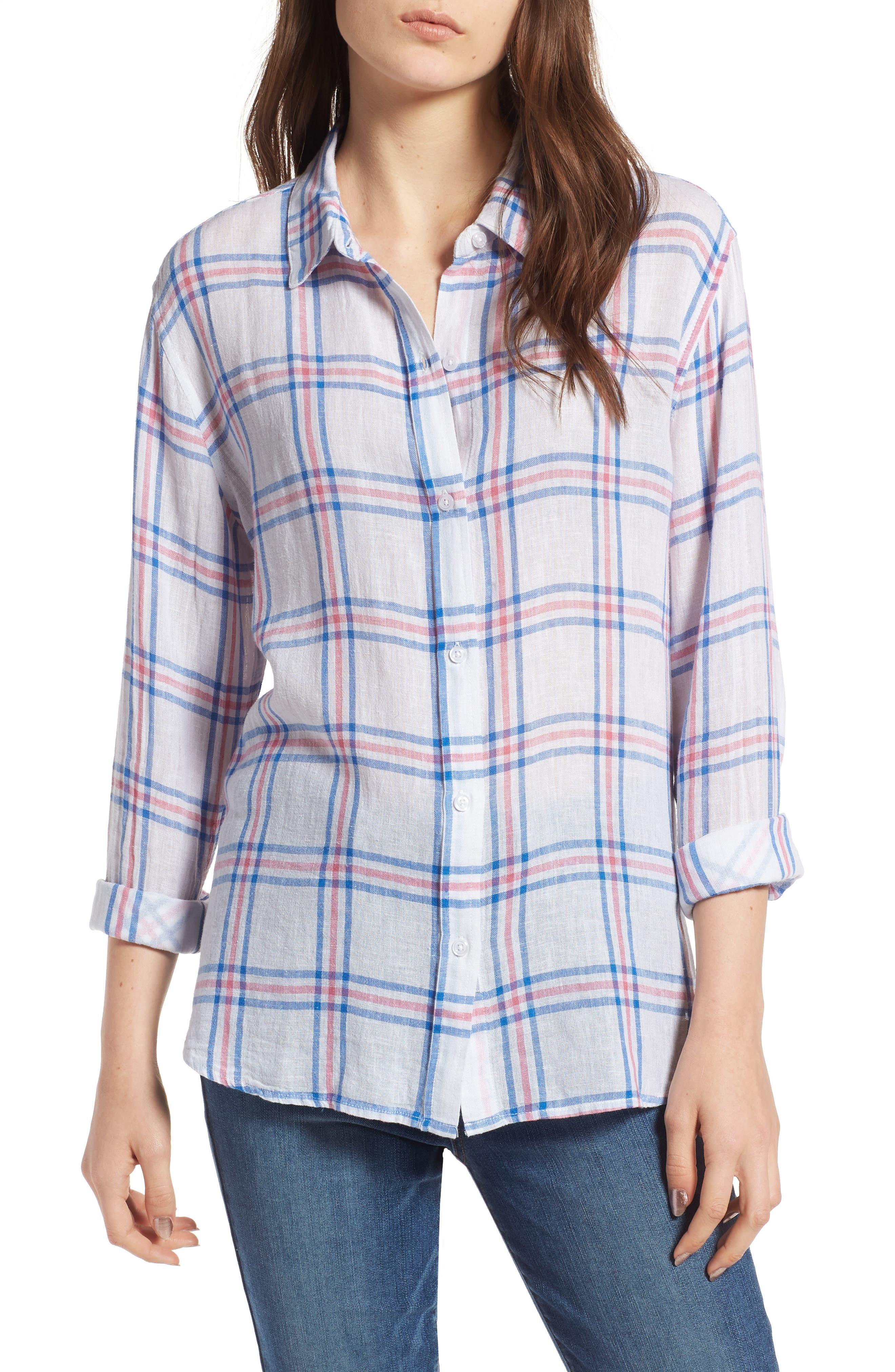 Sydney Stripe Shirt,                             Main thumbnail 1, color,                             Raspberry Azure White