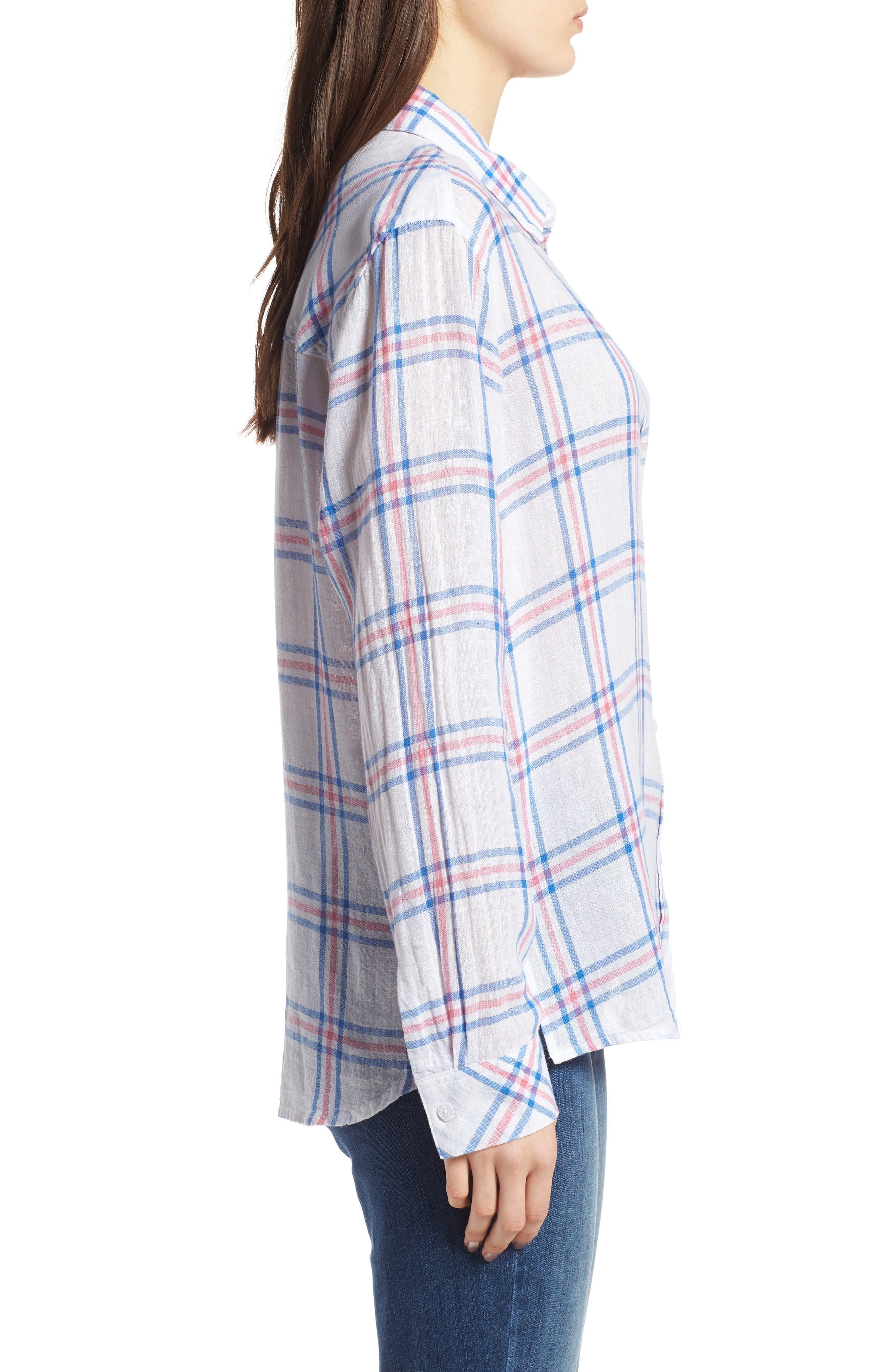Sydney Stripe Shirt,                             Alternate thumbnail 4, color,                             Raspberry Azure White