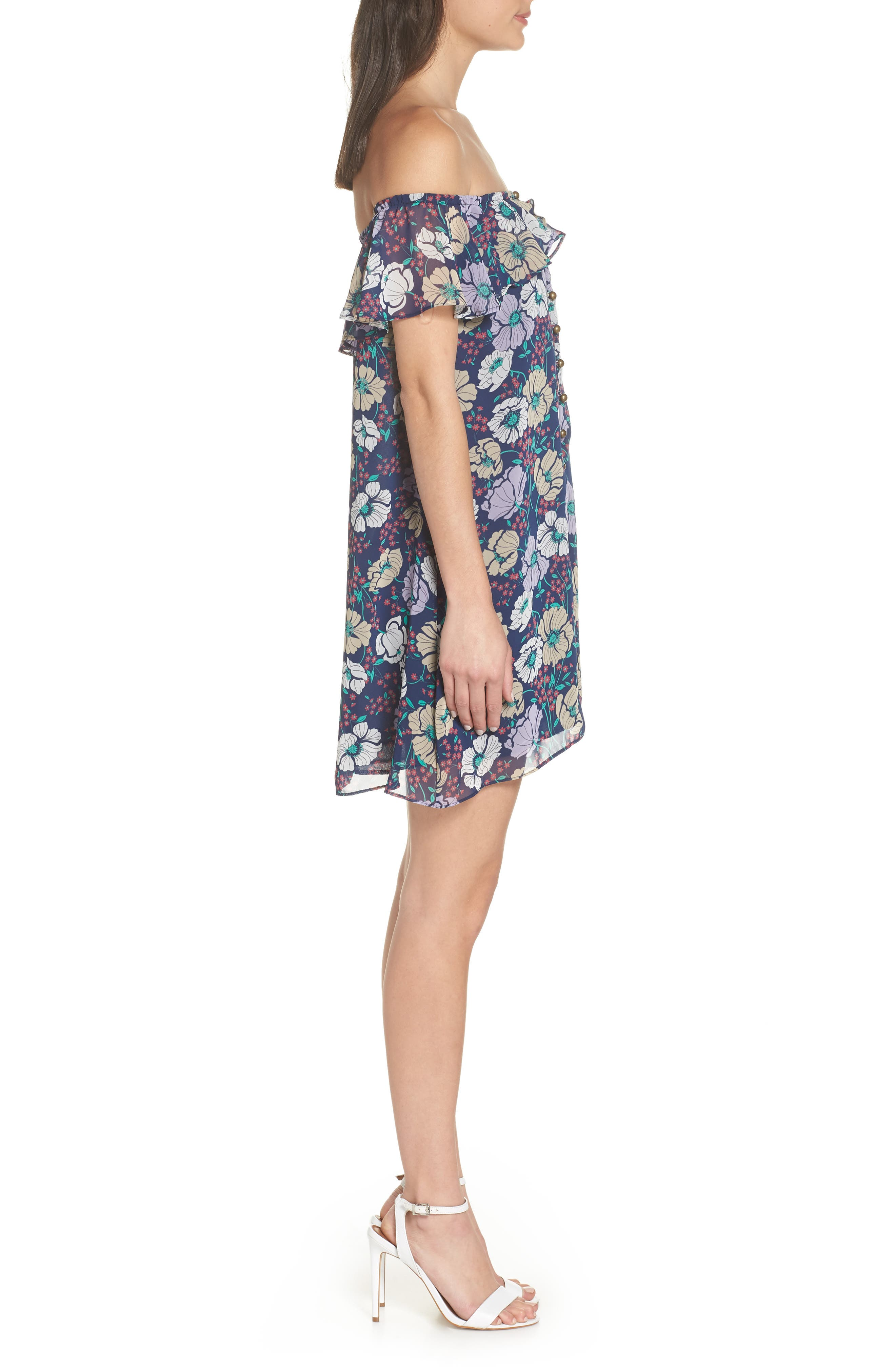 Off the Shoulder Button Front Shift Dress,                             Alternate thumbnail 3, color,                             Willow Navy