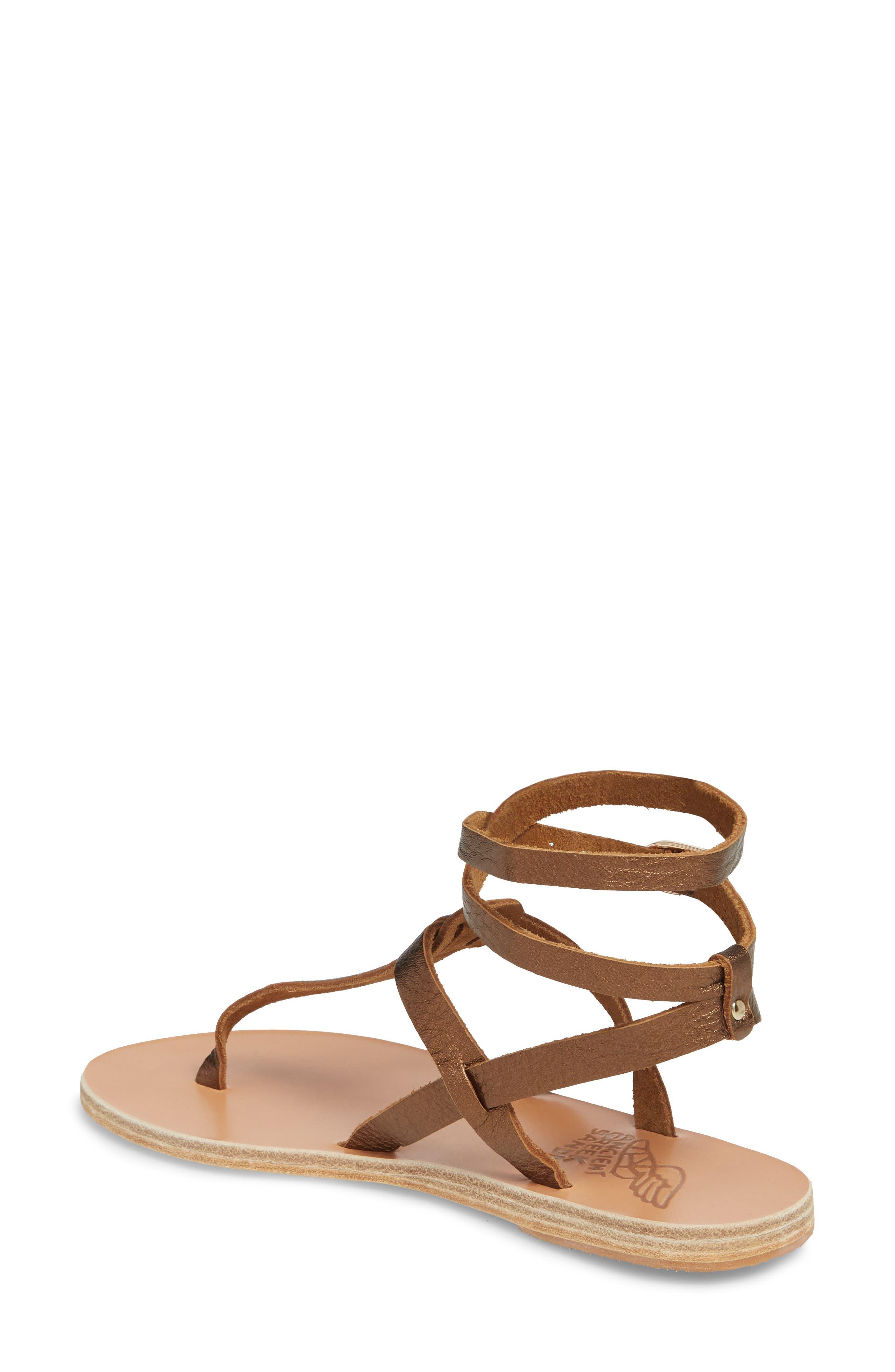 Estia Ankle Wrap Sandal,                             Alternate thumbnail 2, color,                             Bronze/ Cocco