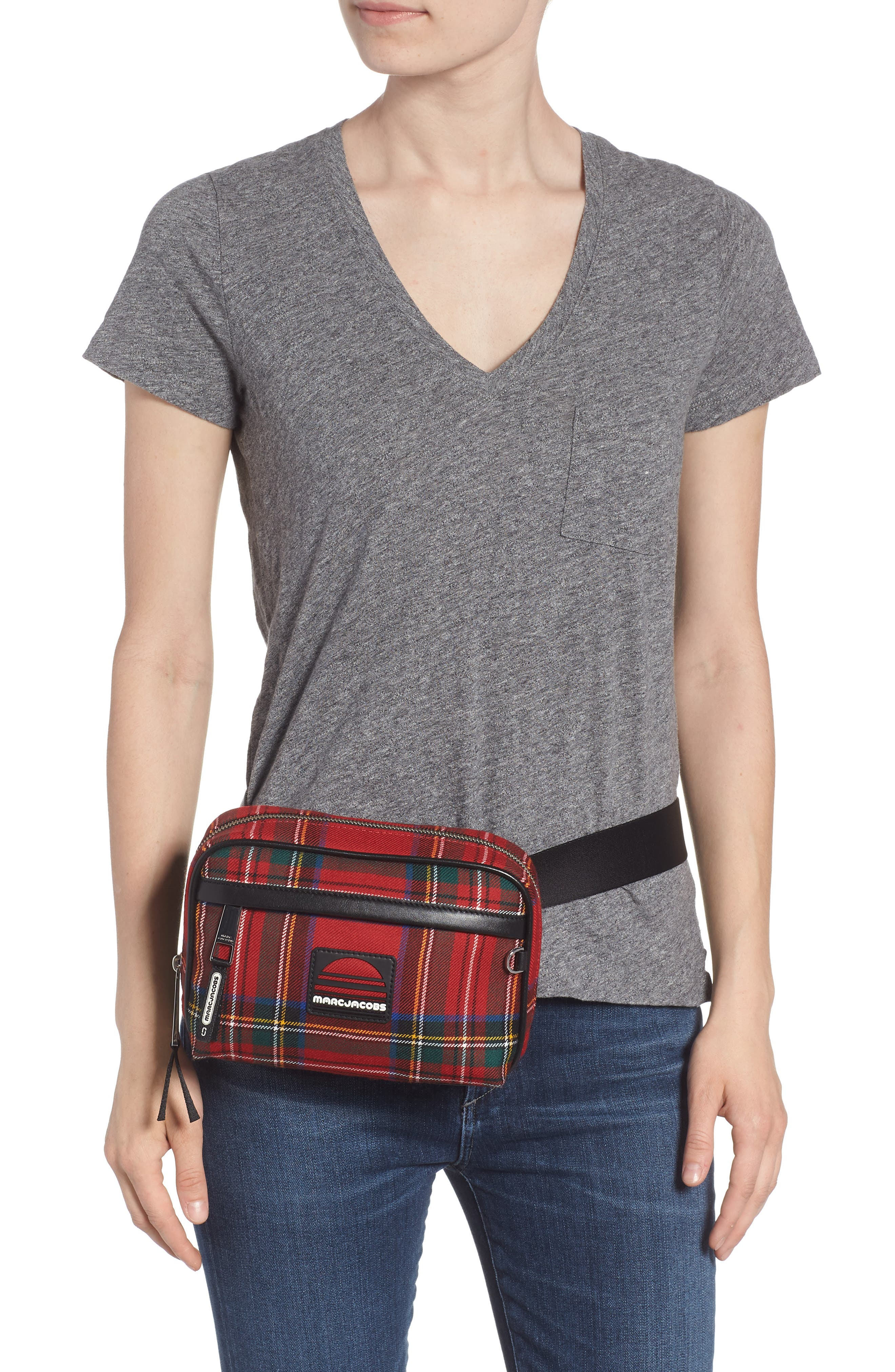 Sport Plaid Belt Bag,                             Alternate thumbnail 2, color,                             Red Multi