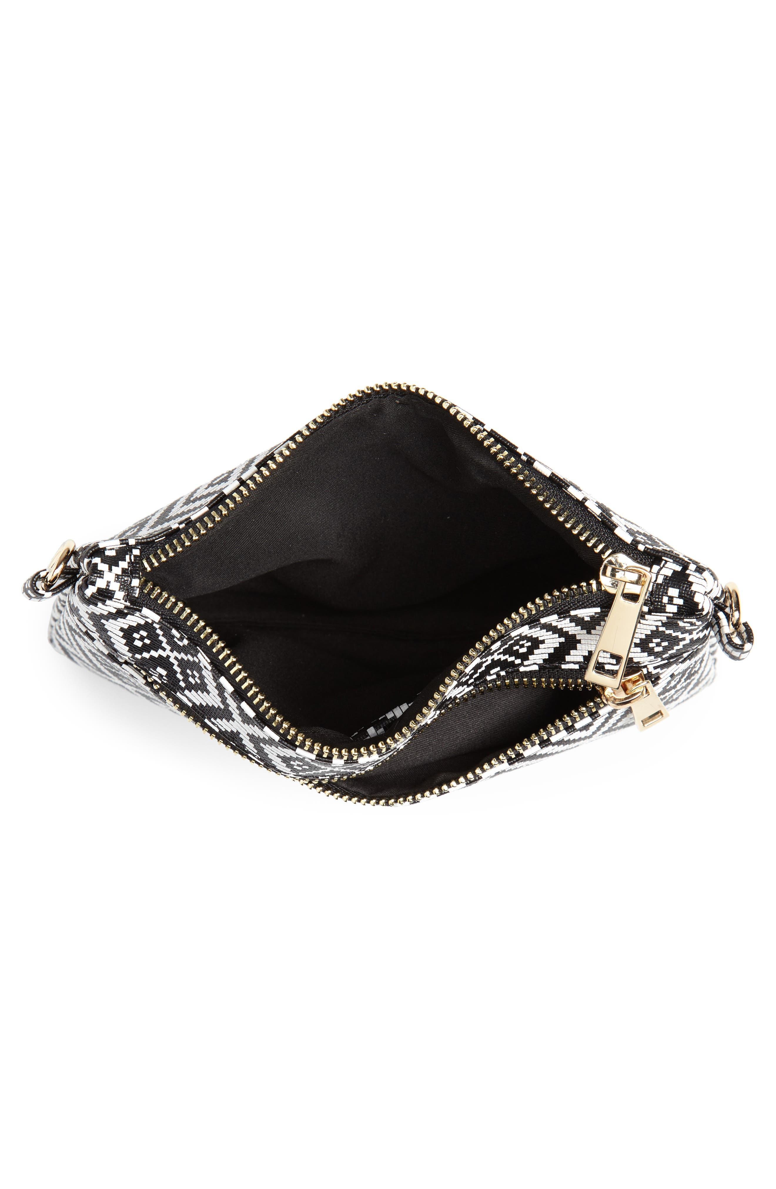 Weave Pattern Convertible Crossbody Wristlet,                             Alternate thumbnail 6, color,                             Black/ White
