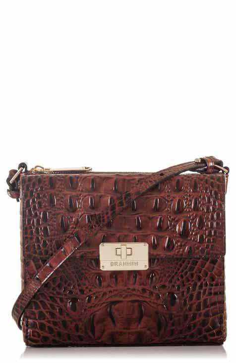 Brahmin Melbourne Manhattan Croc Embossed Leather Crossbody Bag