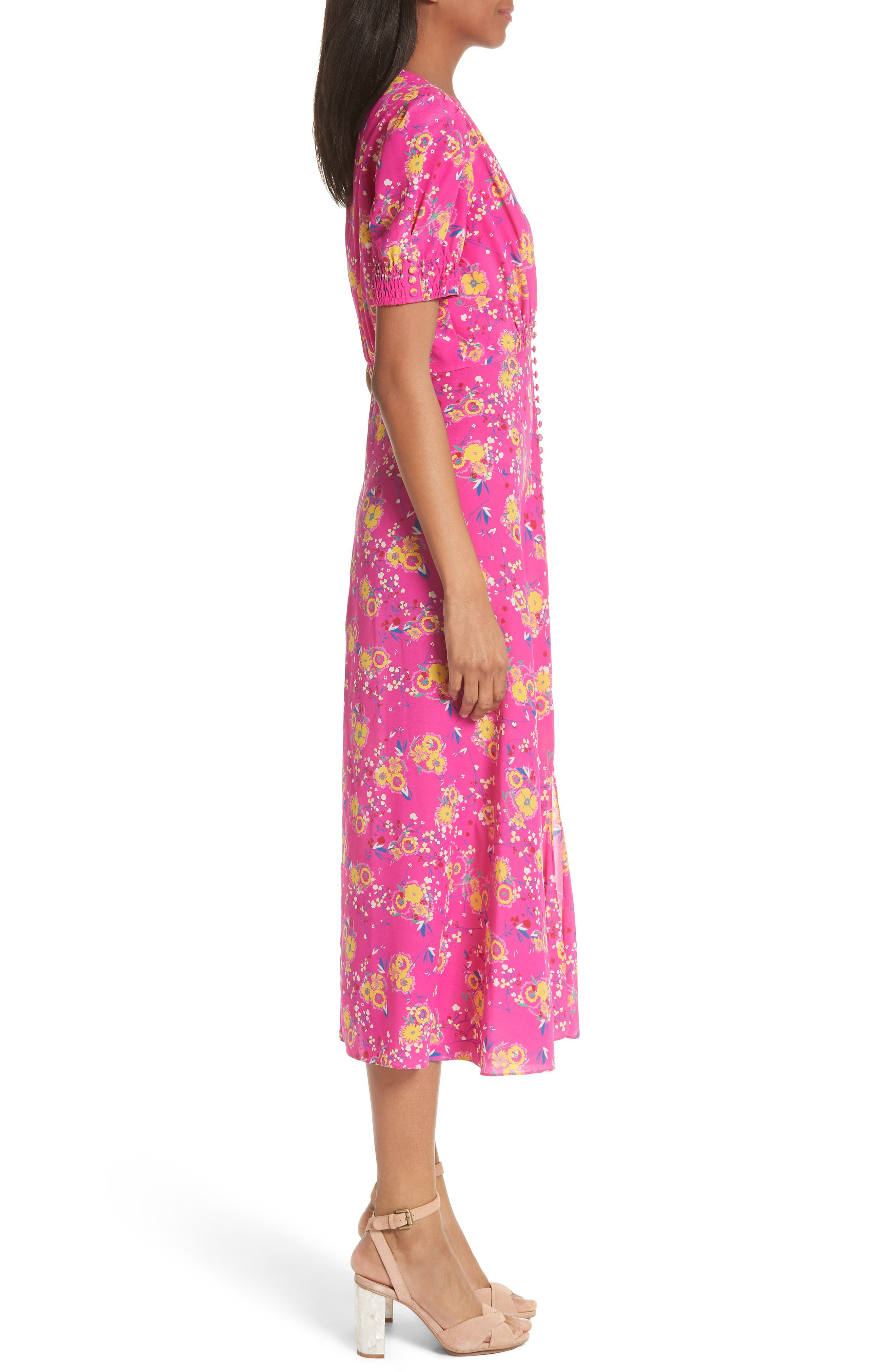 Lea Silk Midi Dress,                             Alternate thumbnail 3, color,                             Shocking Pink Pimpemell