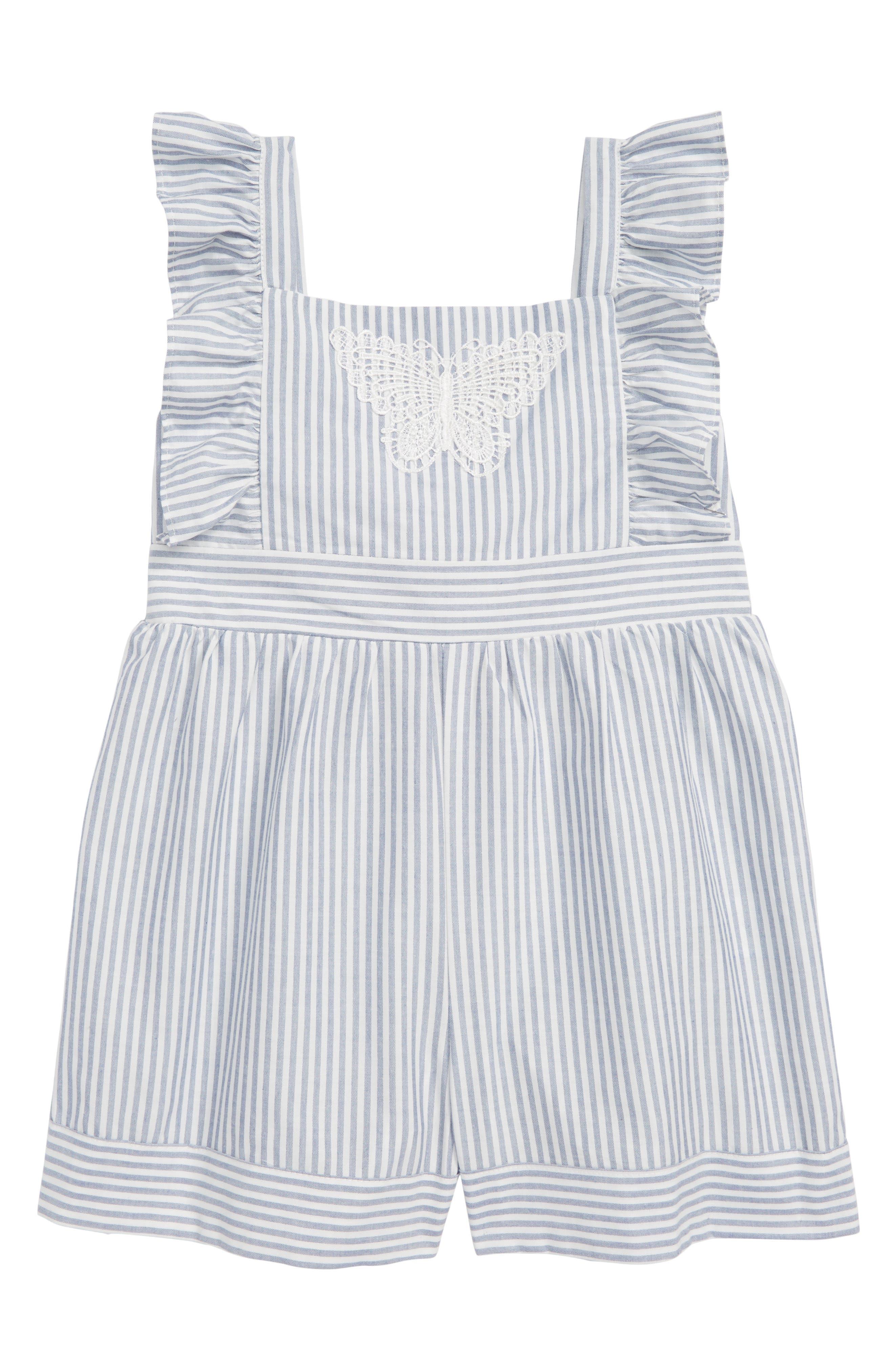 Stripe Romper,                         Main,                         color, Blue/ White