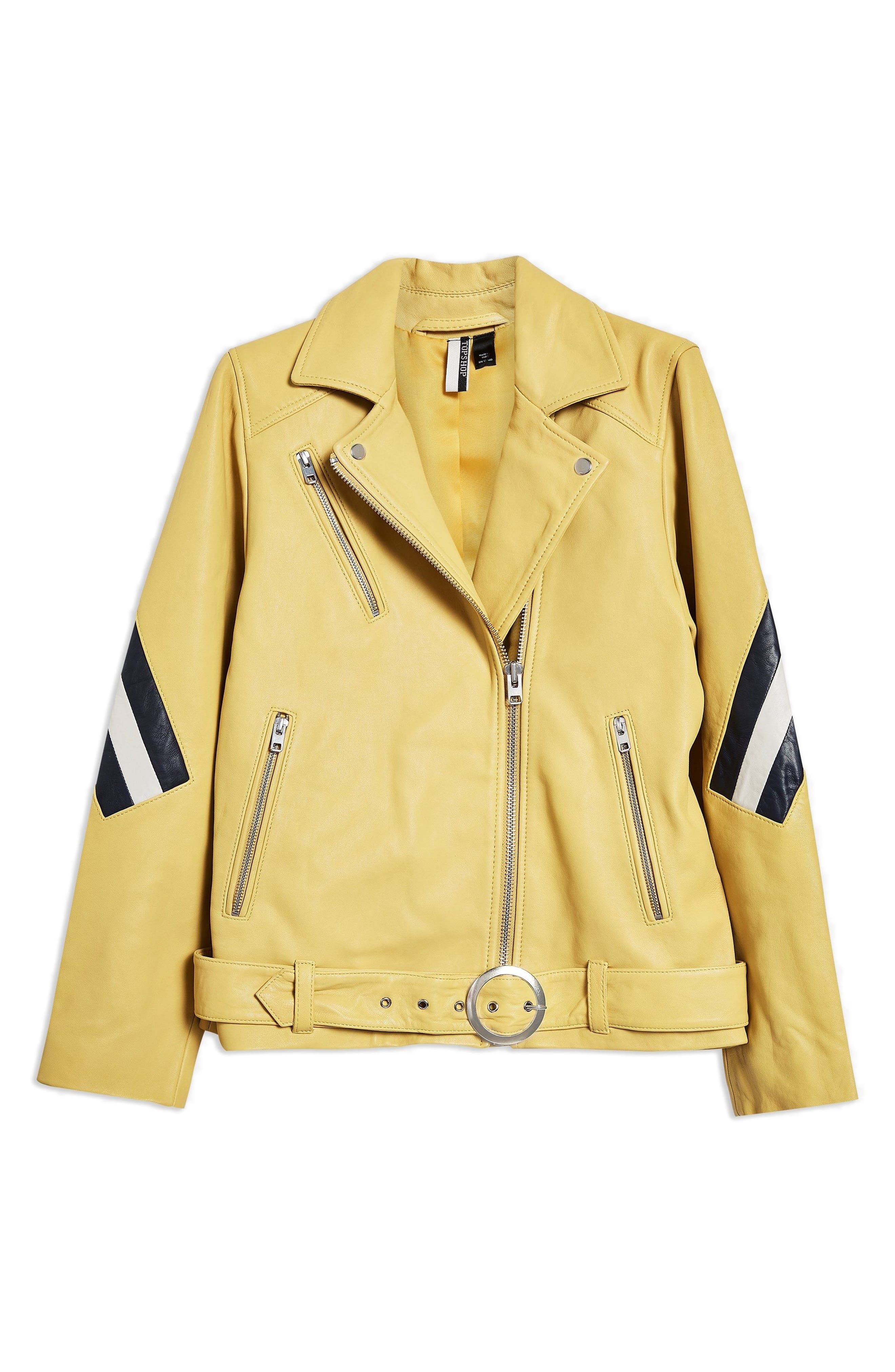 Strobe Leather Jacket,                             Alternate thumbnail 4, color,                             Yellow Multi