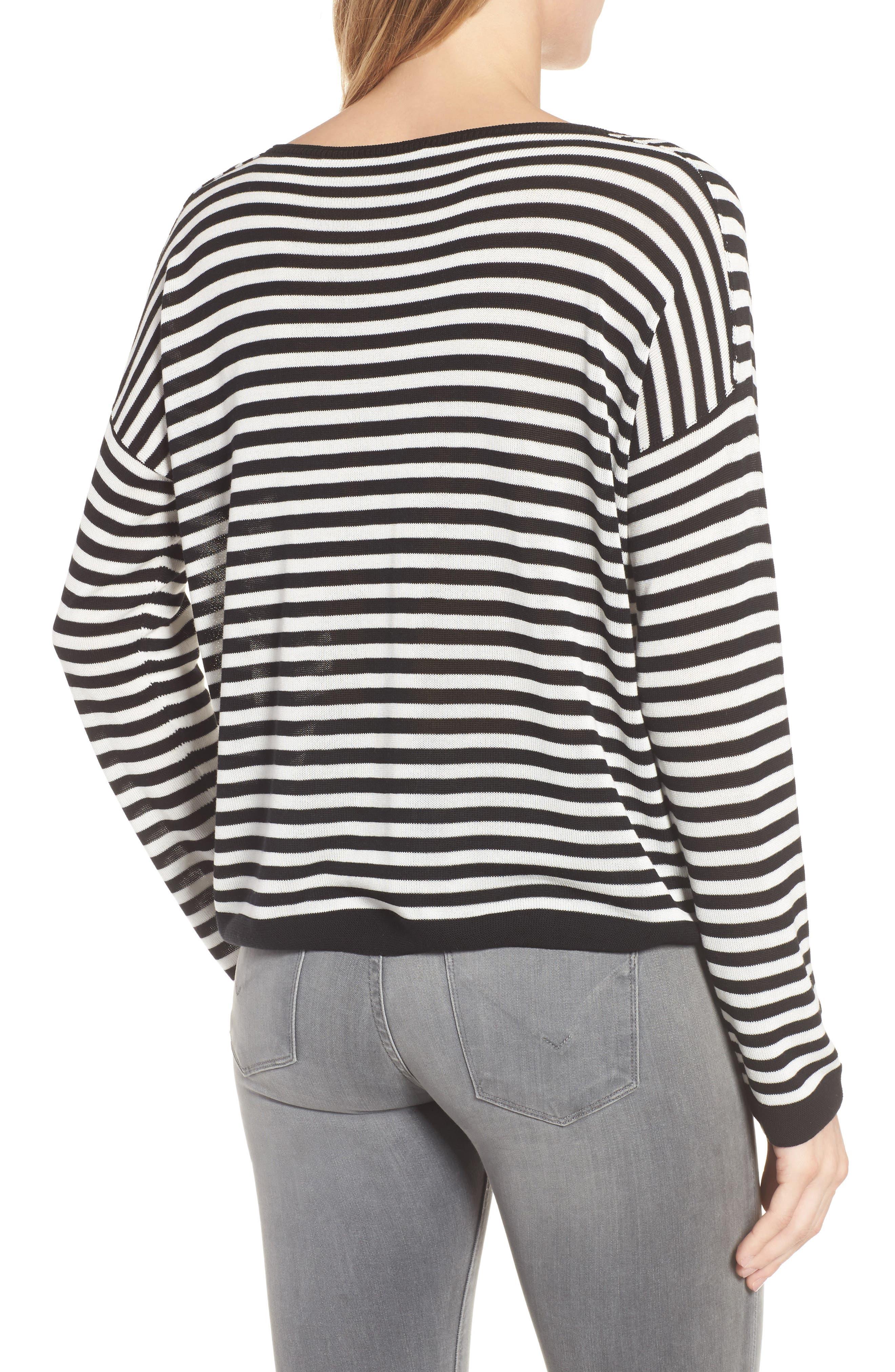 Stripe Tencel<sup>®</sup> Lyocell Knit Sweater,                             Alternate thumbnail 2, color,                             Black/ Soft White